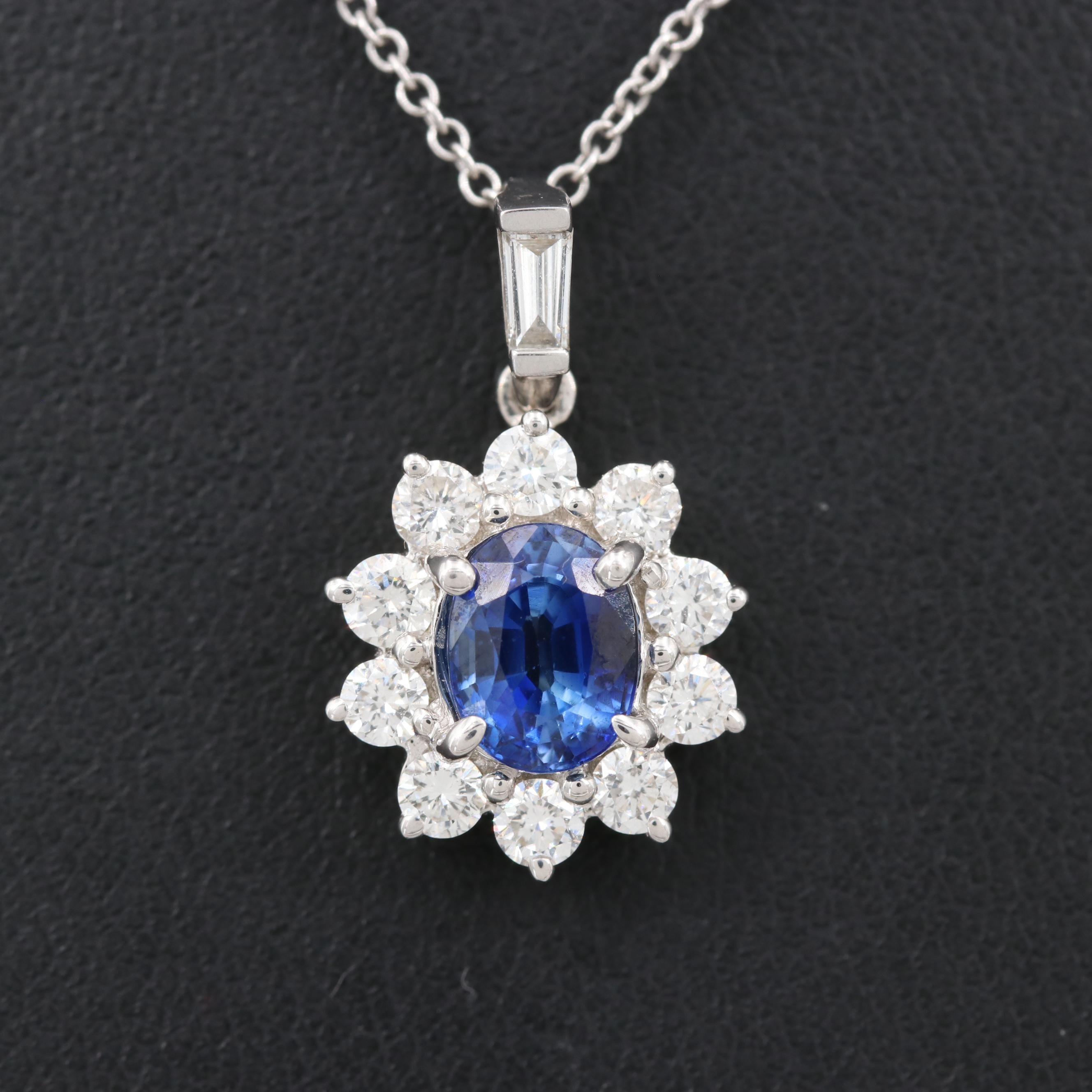 18K Gold 1.00 CT Blue Sapphire and Diamond Pendant on 14K White Gold Chain