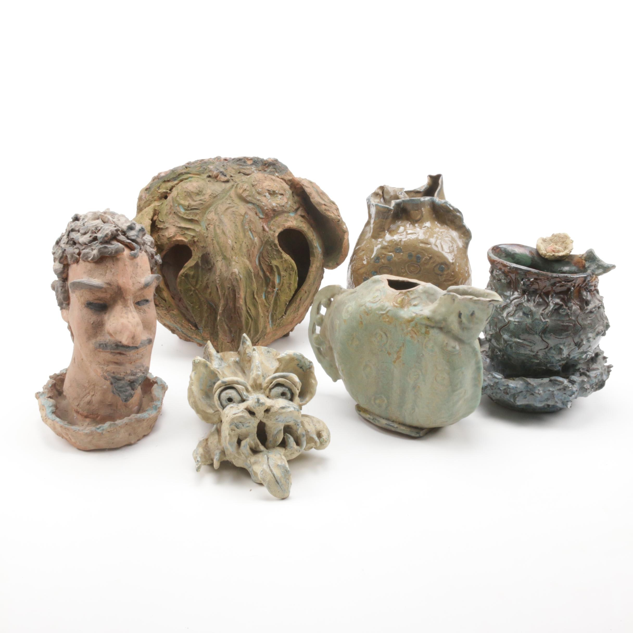 Folk Art Pottery Sculptures and Vases