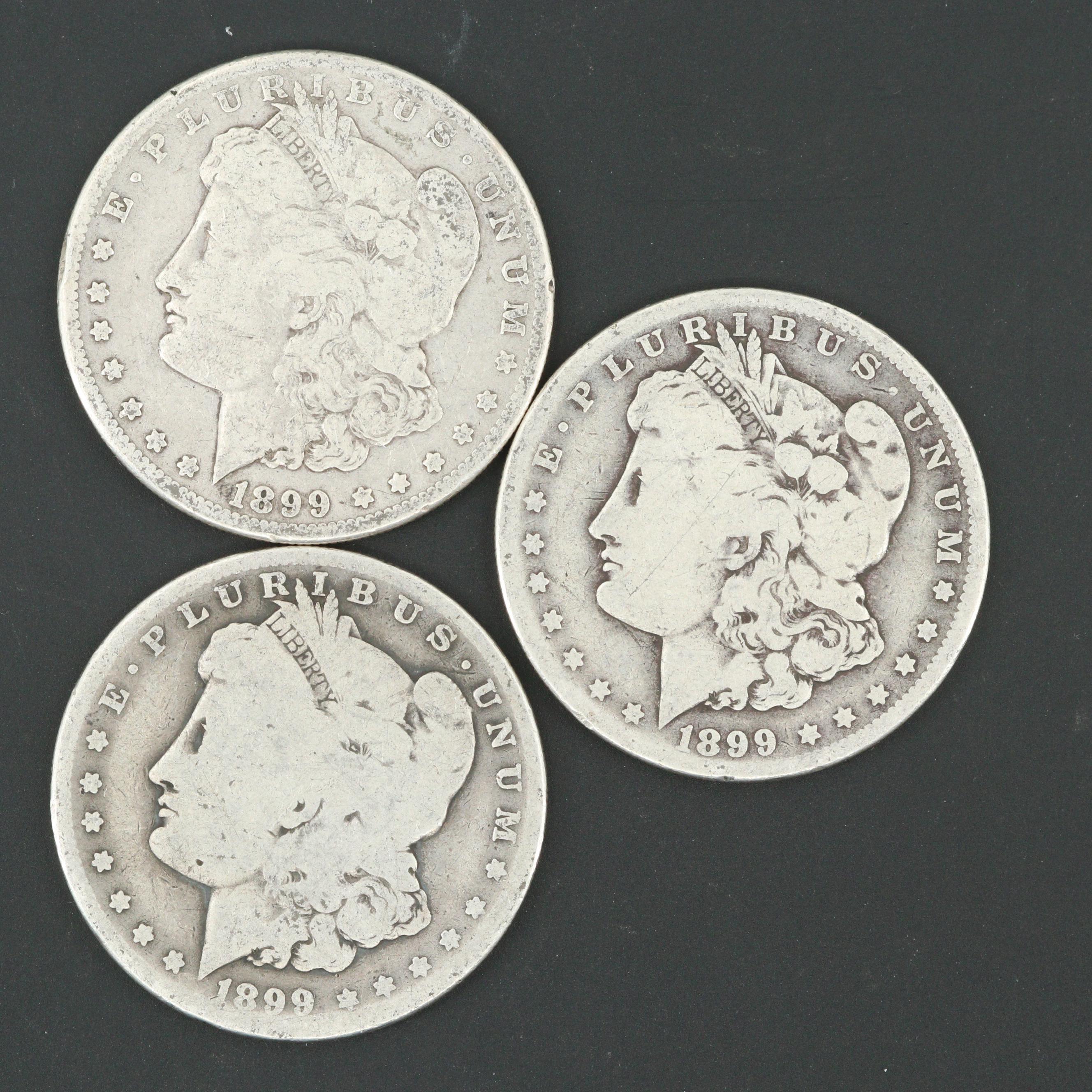 Three 1899-O Morgan Silver Dollars