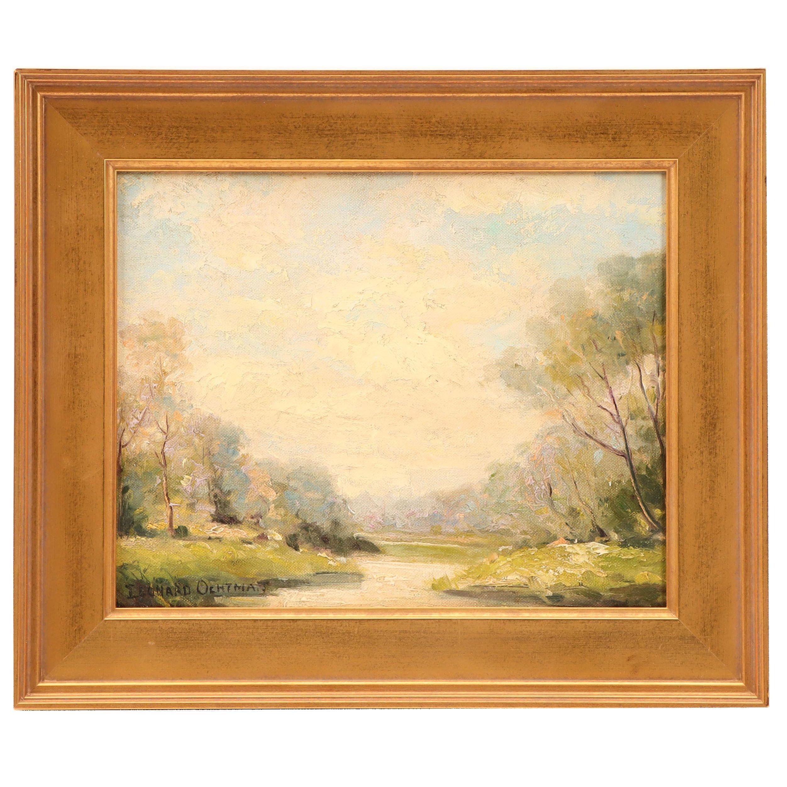 Leonard Ochtman Landscape Oil Painting of River Scene