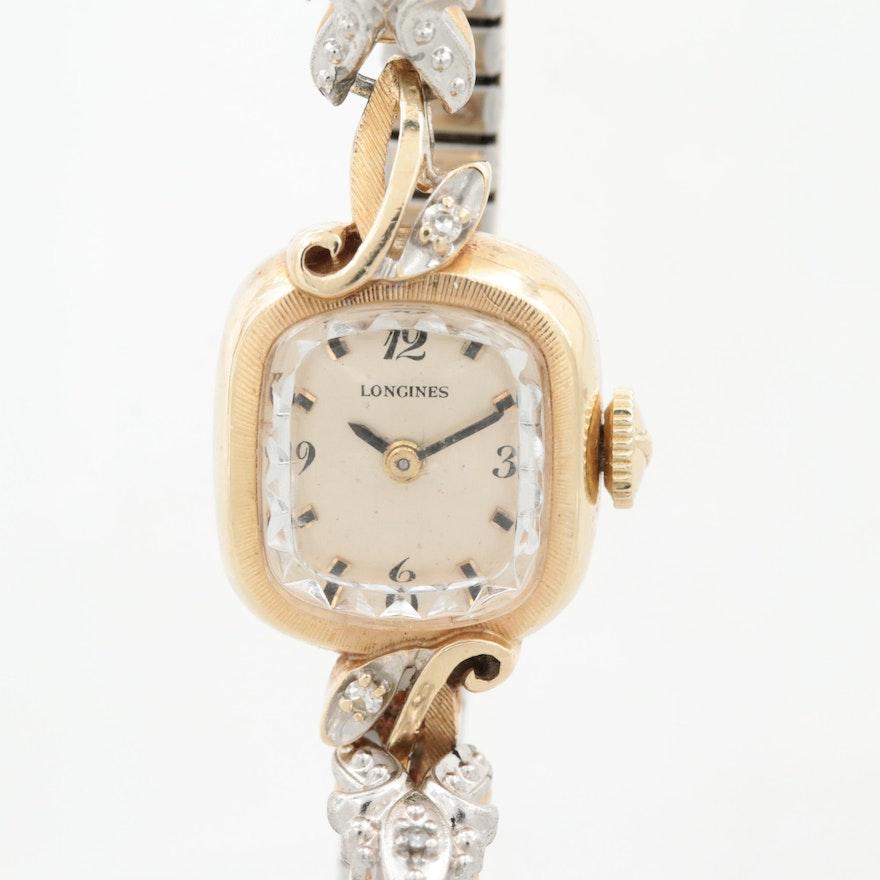 Vintage Longines 14K Yellow Gold Diamond Stem Wind Wristwatch