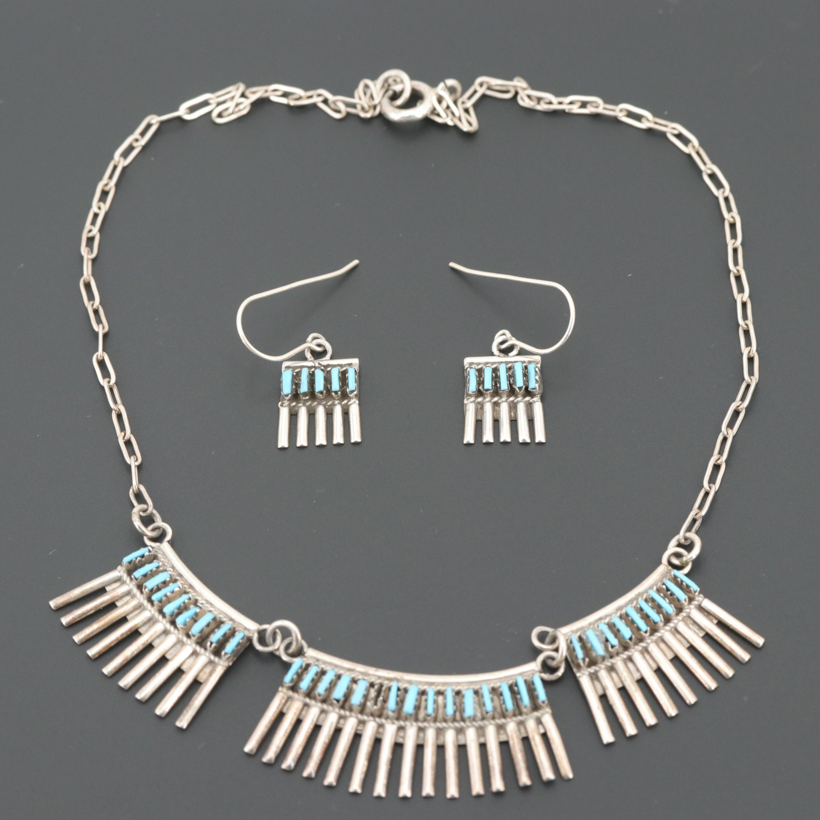 Southwestern Style Sterling Silver Turquoise Necklace and Earrings Set