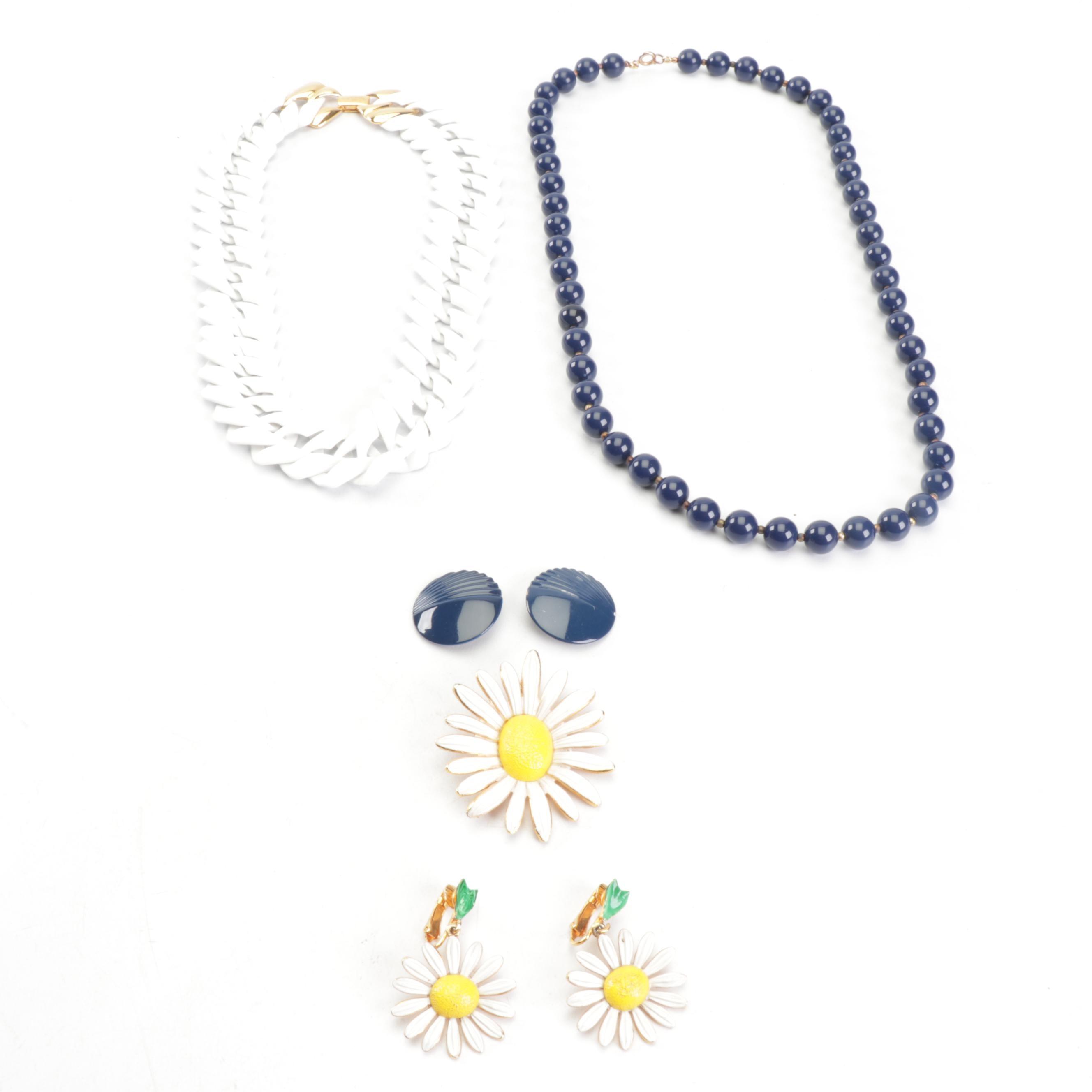 Napier Serpentine Necklace and Metal & Enamel Jewelry, Circa 1970