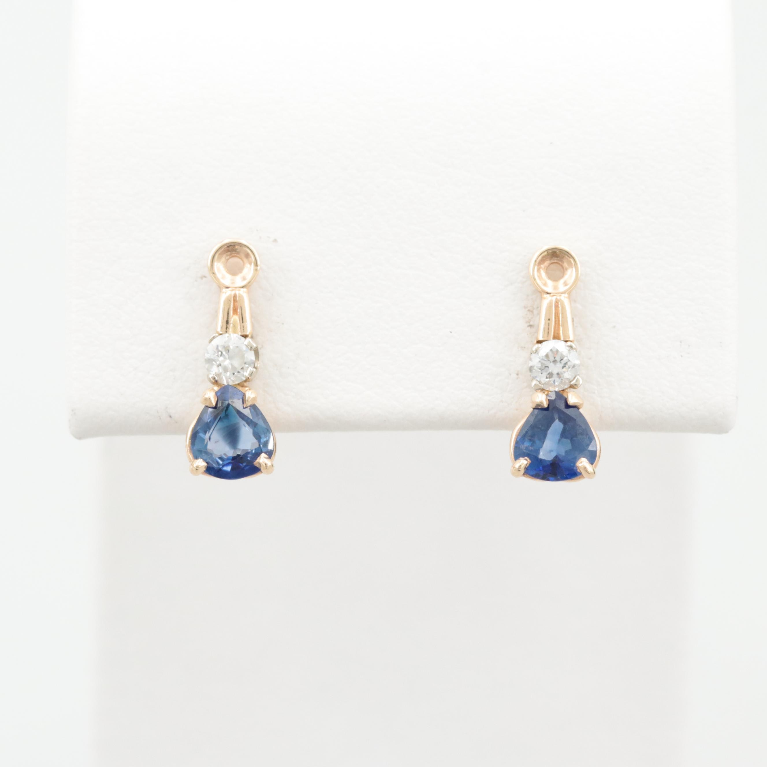 14K Yellow Gold Blue Sapphire and Diamond Earring Jackets