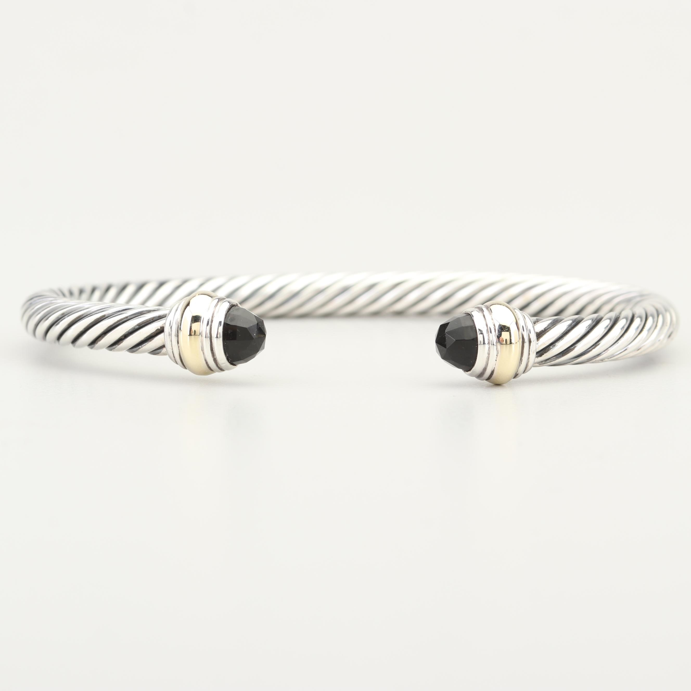 David Yurman Sterling Silver 14K Gold Accented and Black Onyx Cable Bracelet