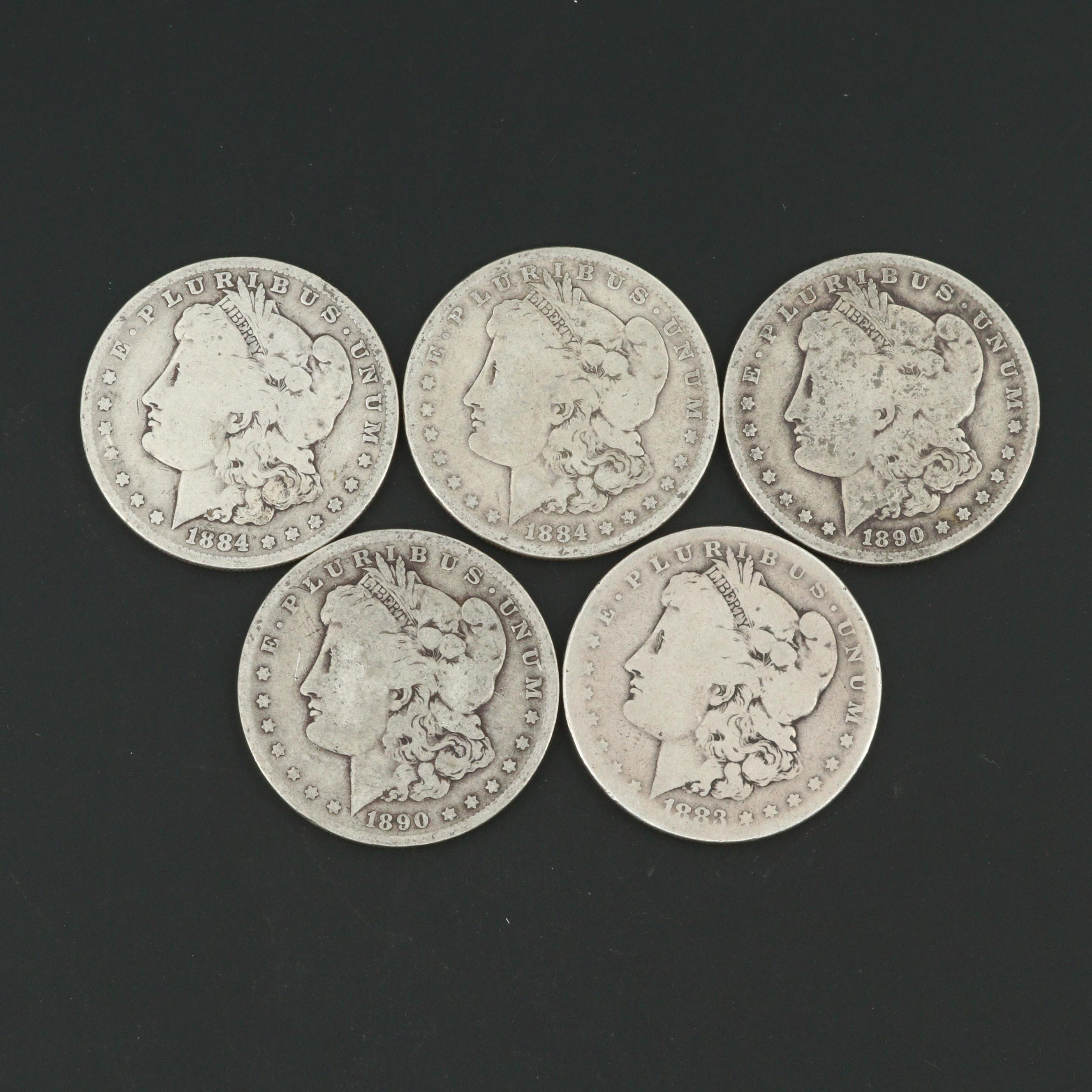 Five Morgan Silver Dollars