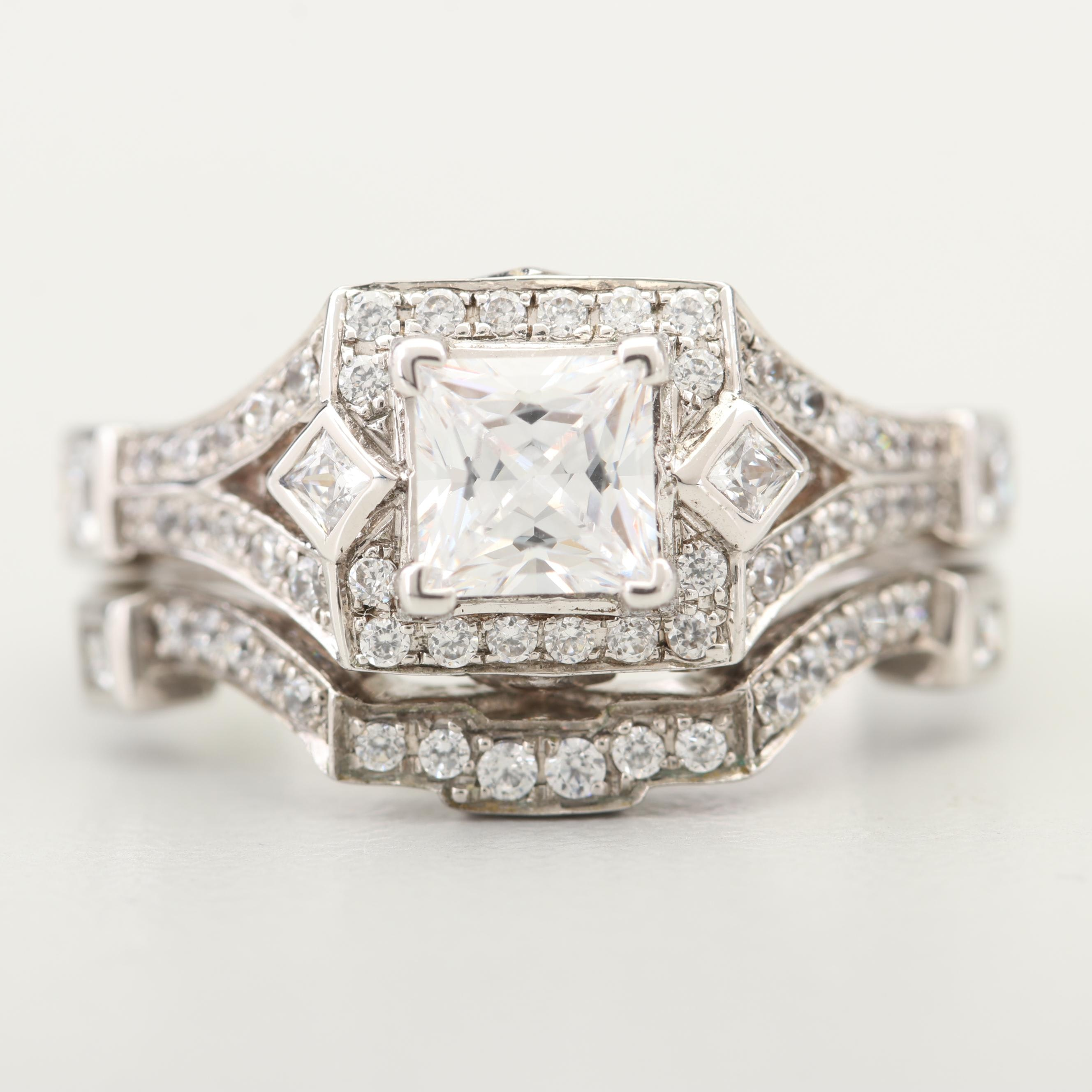 Silver Tone Cubic Zirconia Bridal Set