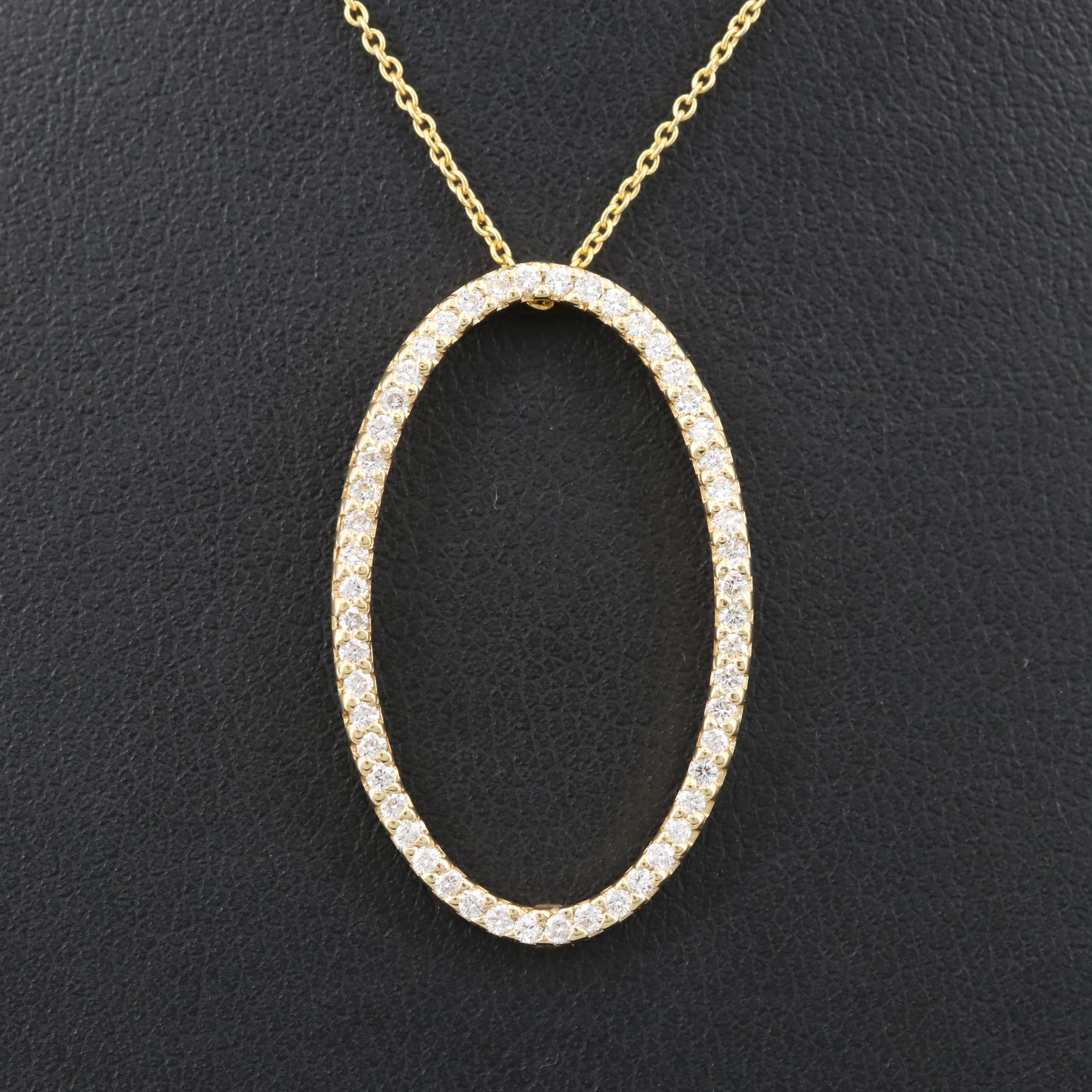 Roberto Coin 18K Yellow Gold Diamond Oval Pendant Adjustable Chain Necklace