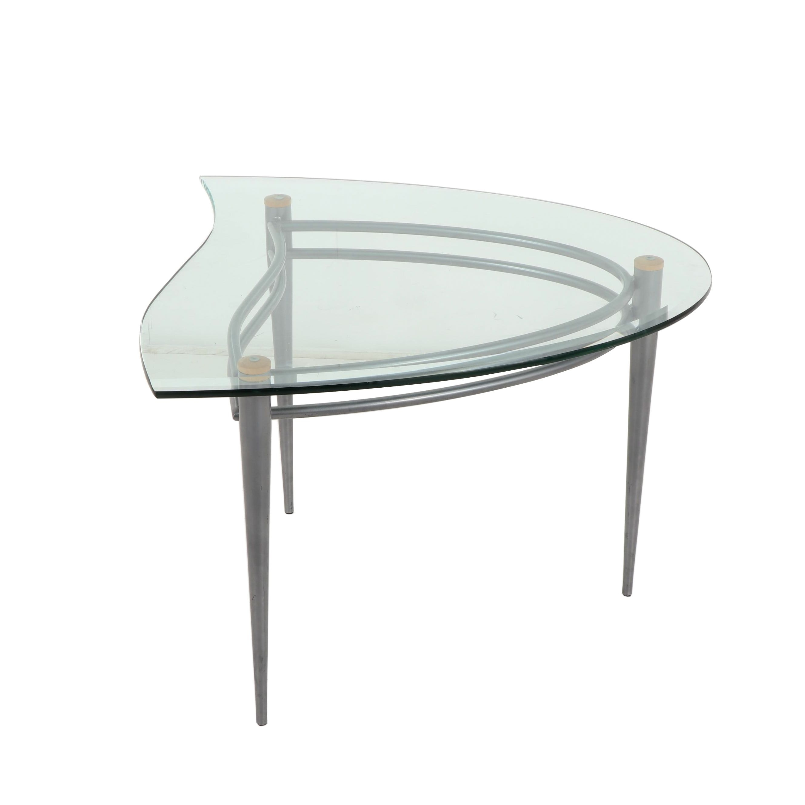 Contemporary Asymmetrical Glass Side Table with Metal Base