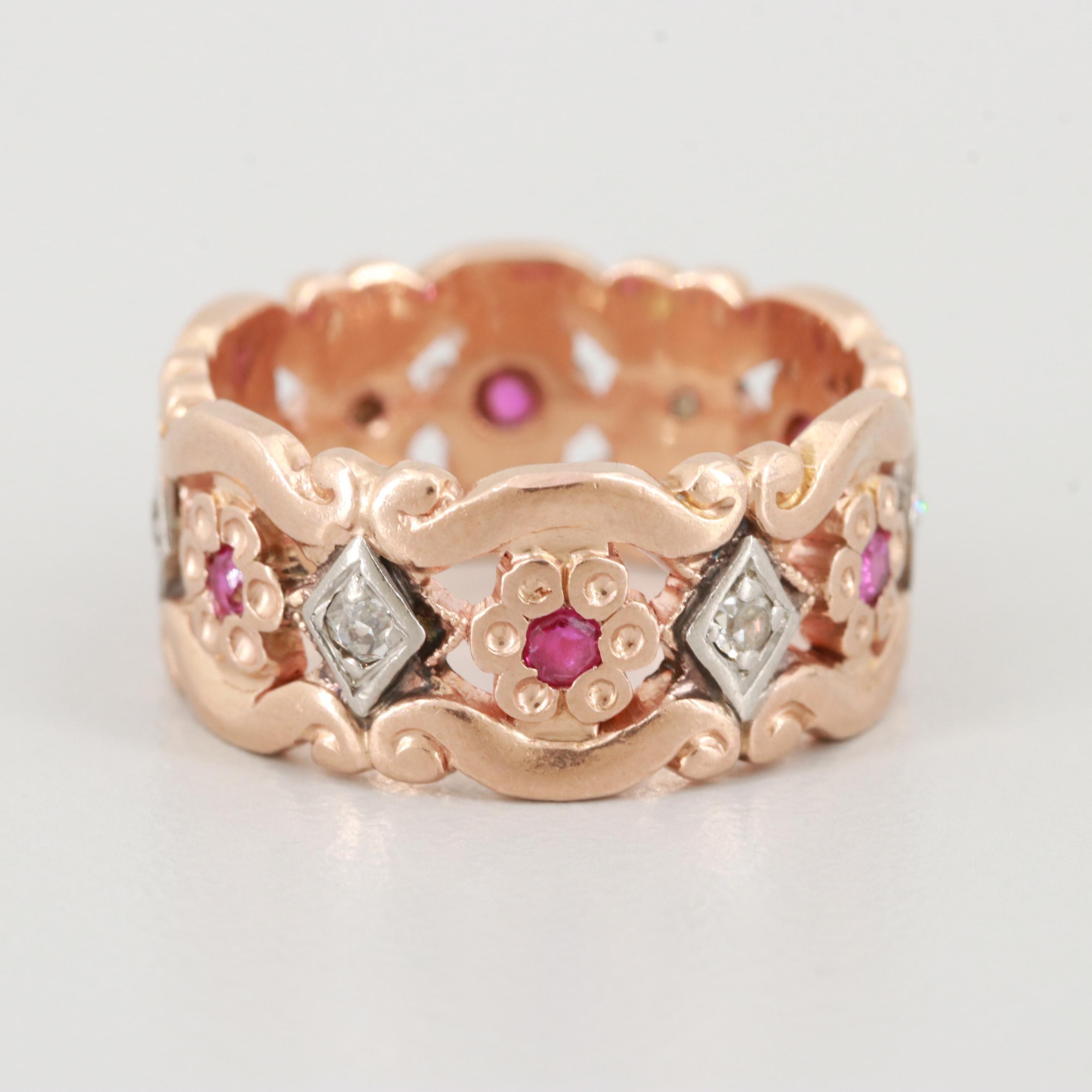 14K Rose Gold Diamond and Ruby Ring with Palladium Accents