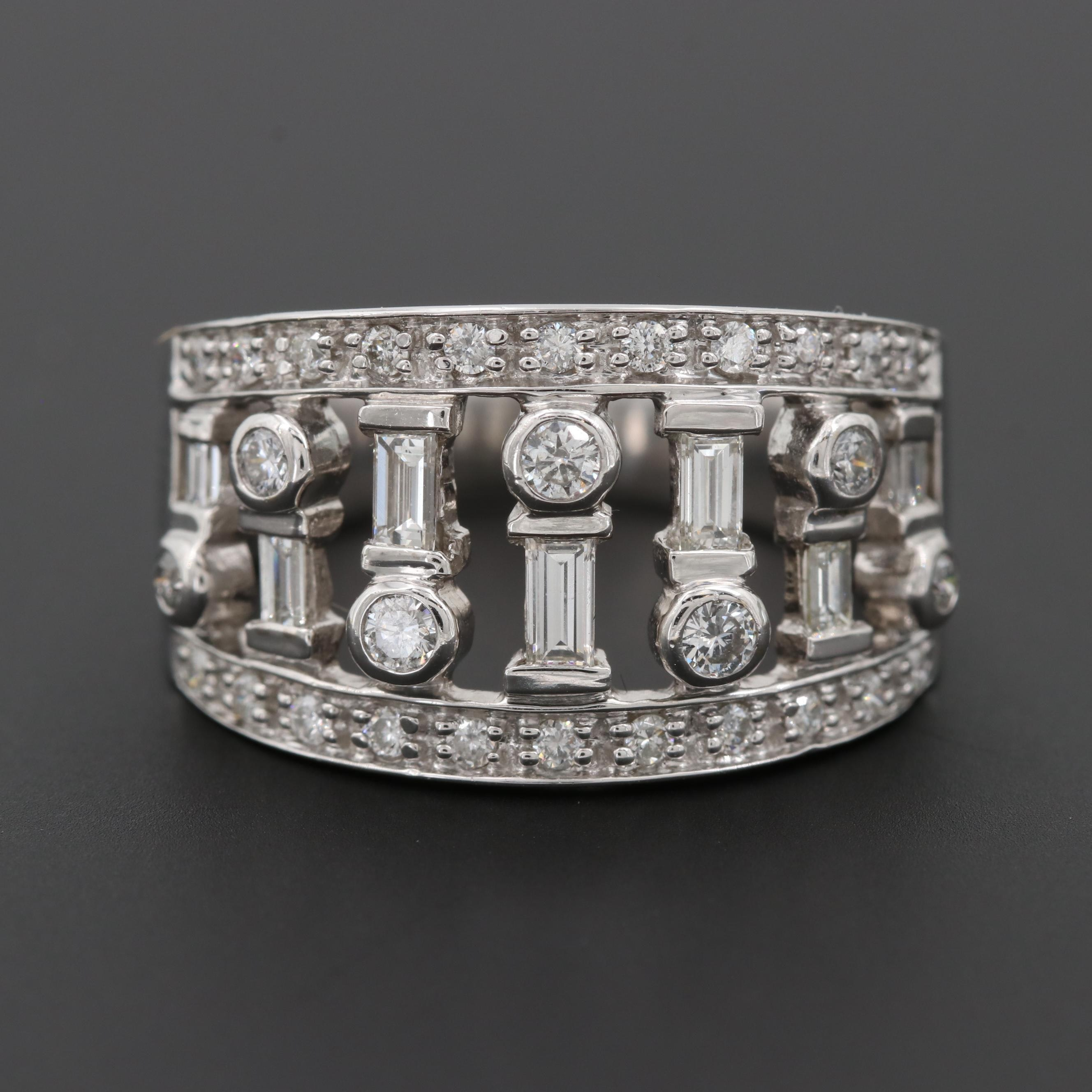 14K White Gold Diamond Open Work Tapered Band