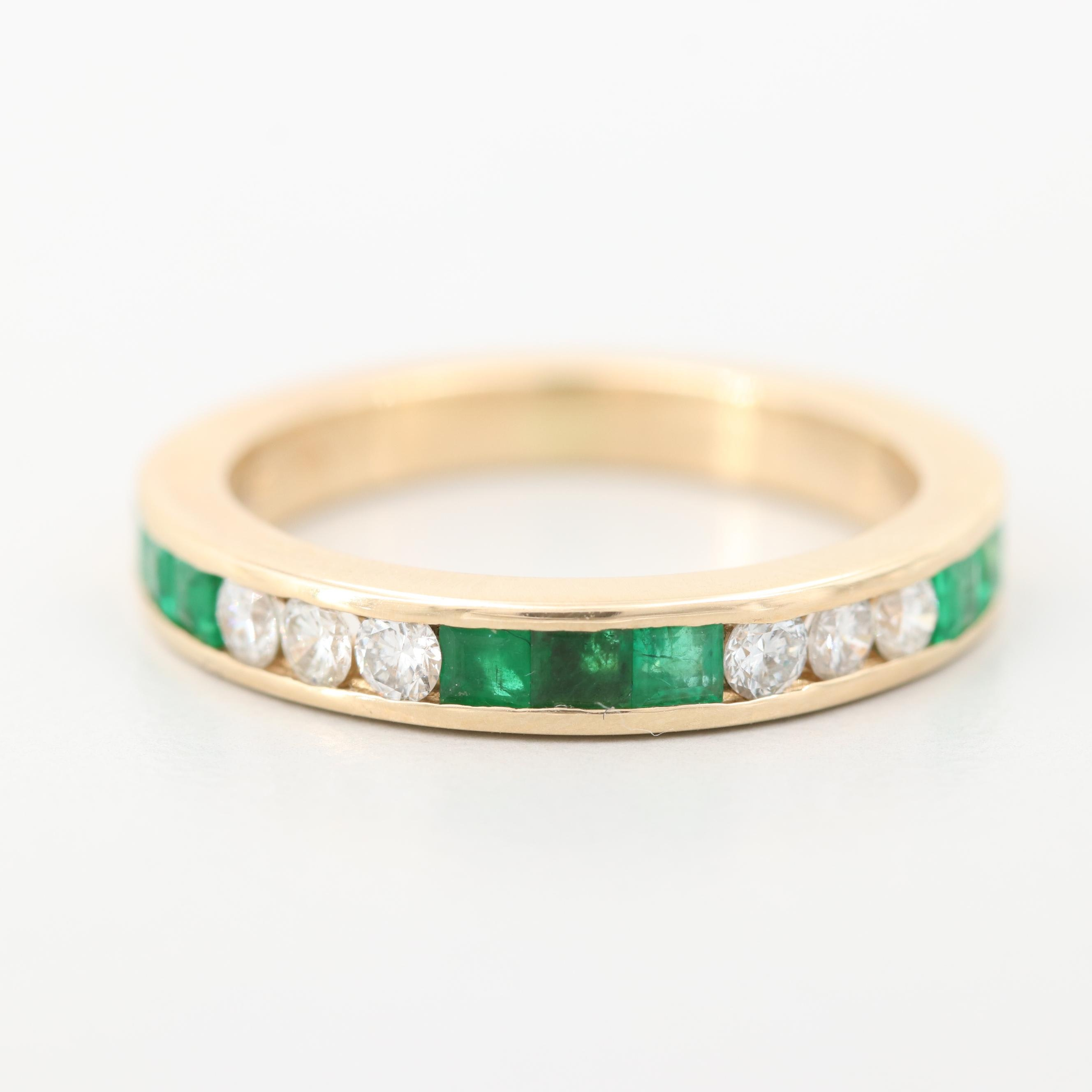 14K Yellow Gold Emerald and Diamond Ring in Channel Setting