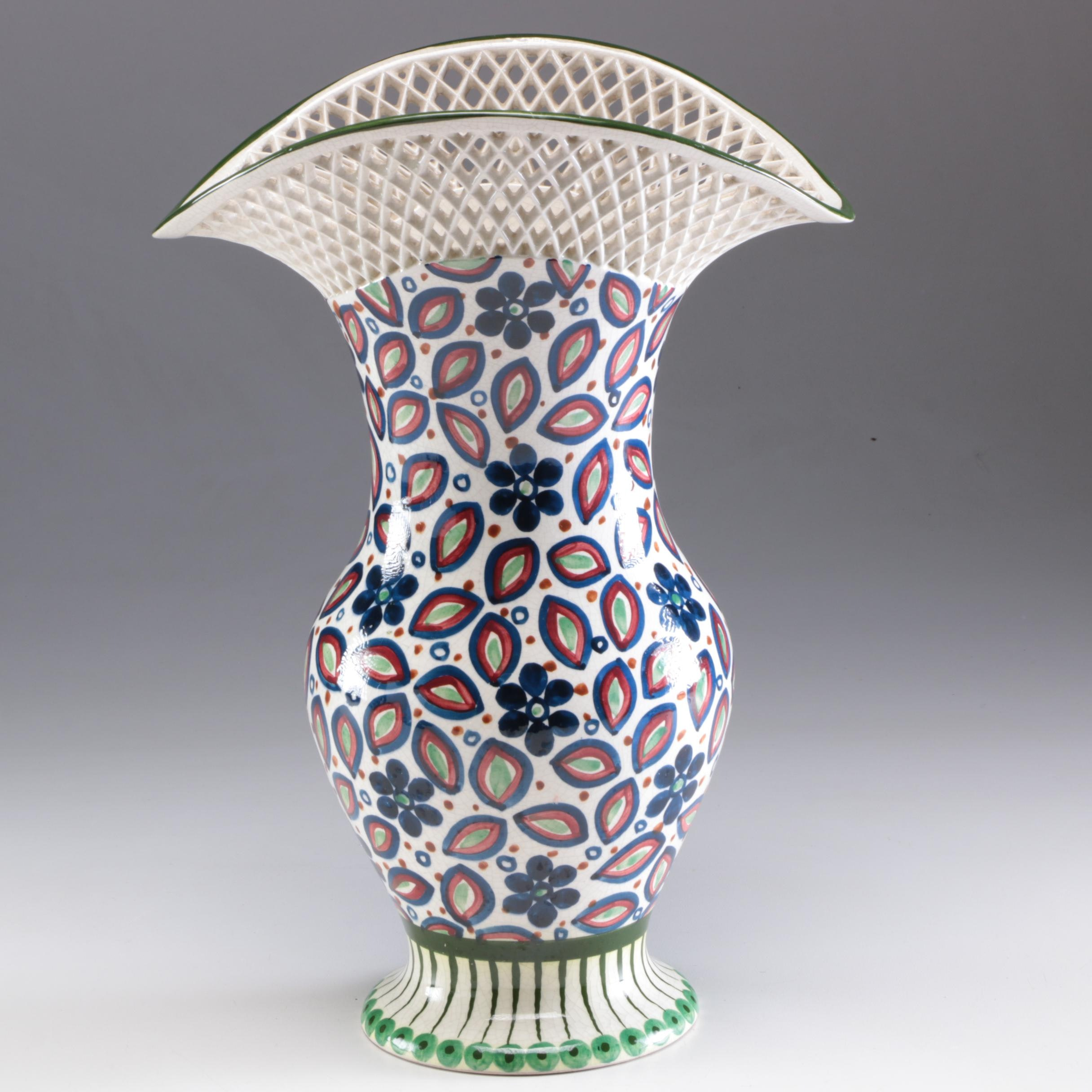 Dutch Bauernmalerei Reticulated Creamware Vase, Late 19th/Early 20th Century