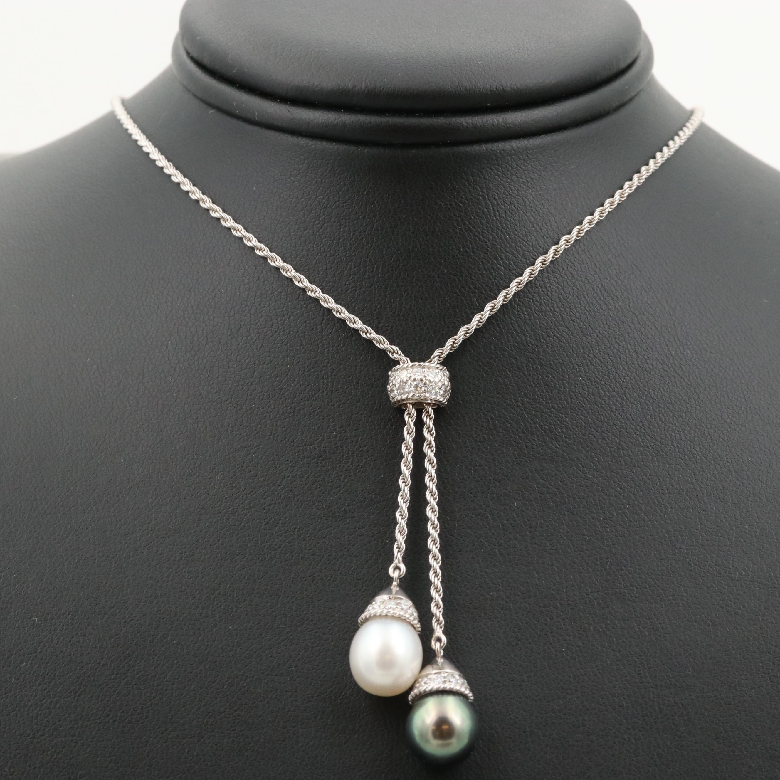 Penny Preville 18K White Gold Cultured Pearl and Diamond Lariat Necklace