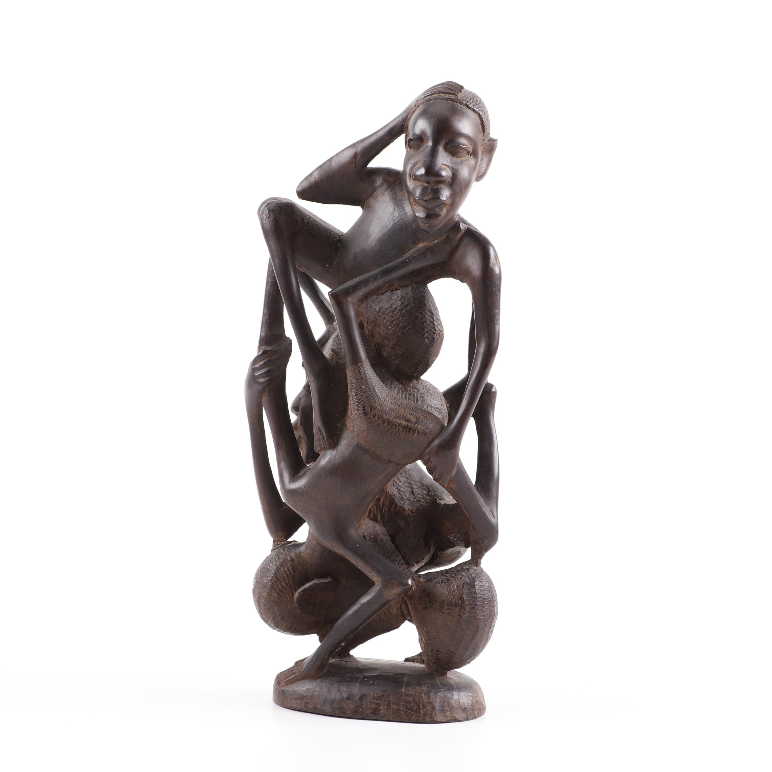 African Carved Wood Figural Sculpture