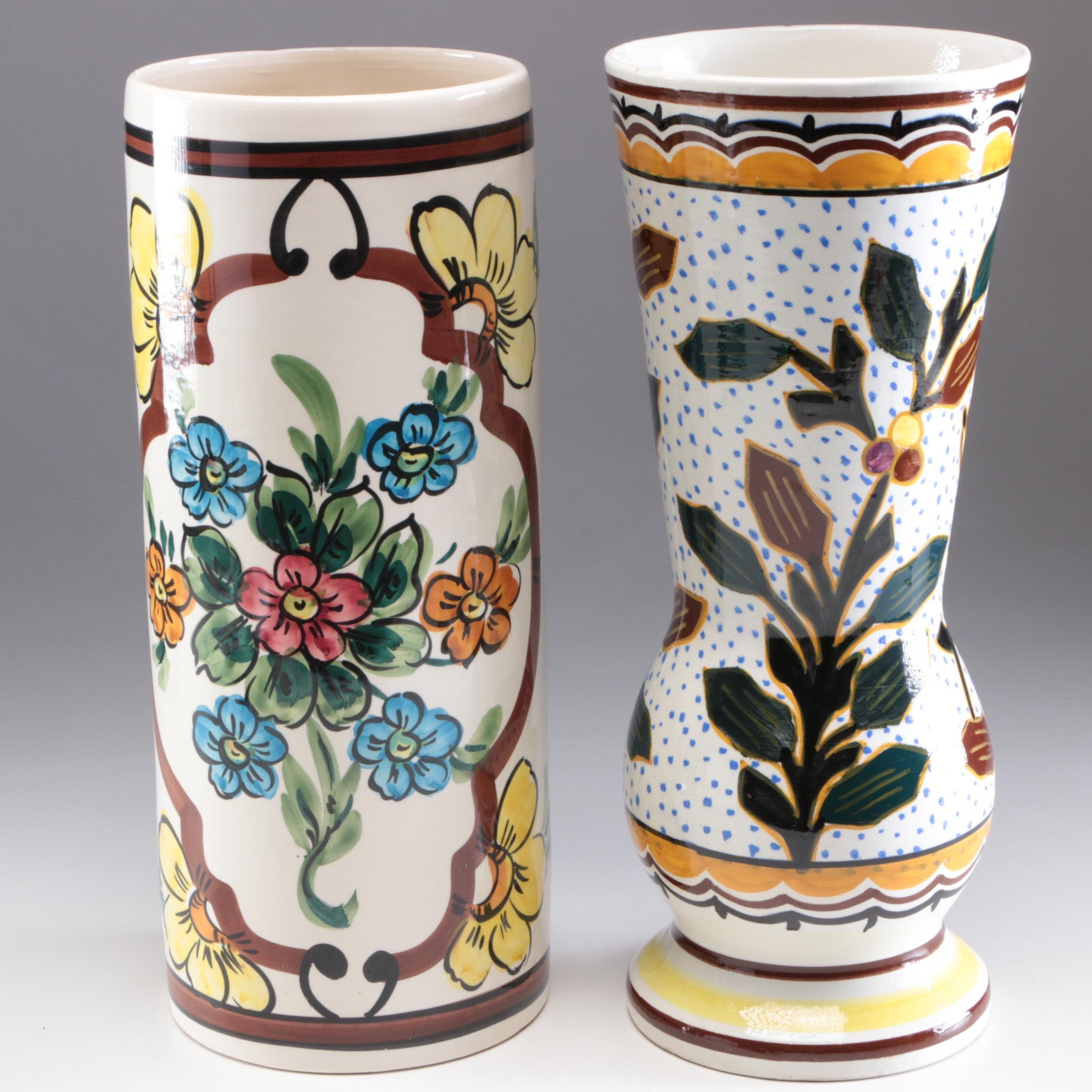 Hand-Painted Spanish Ceramic Vases, Mid-Century