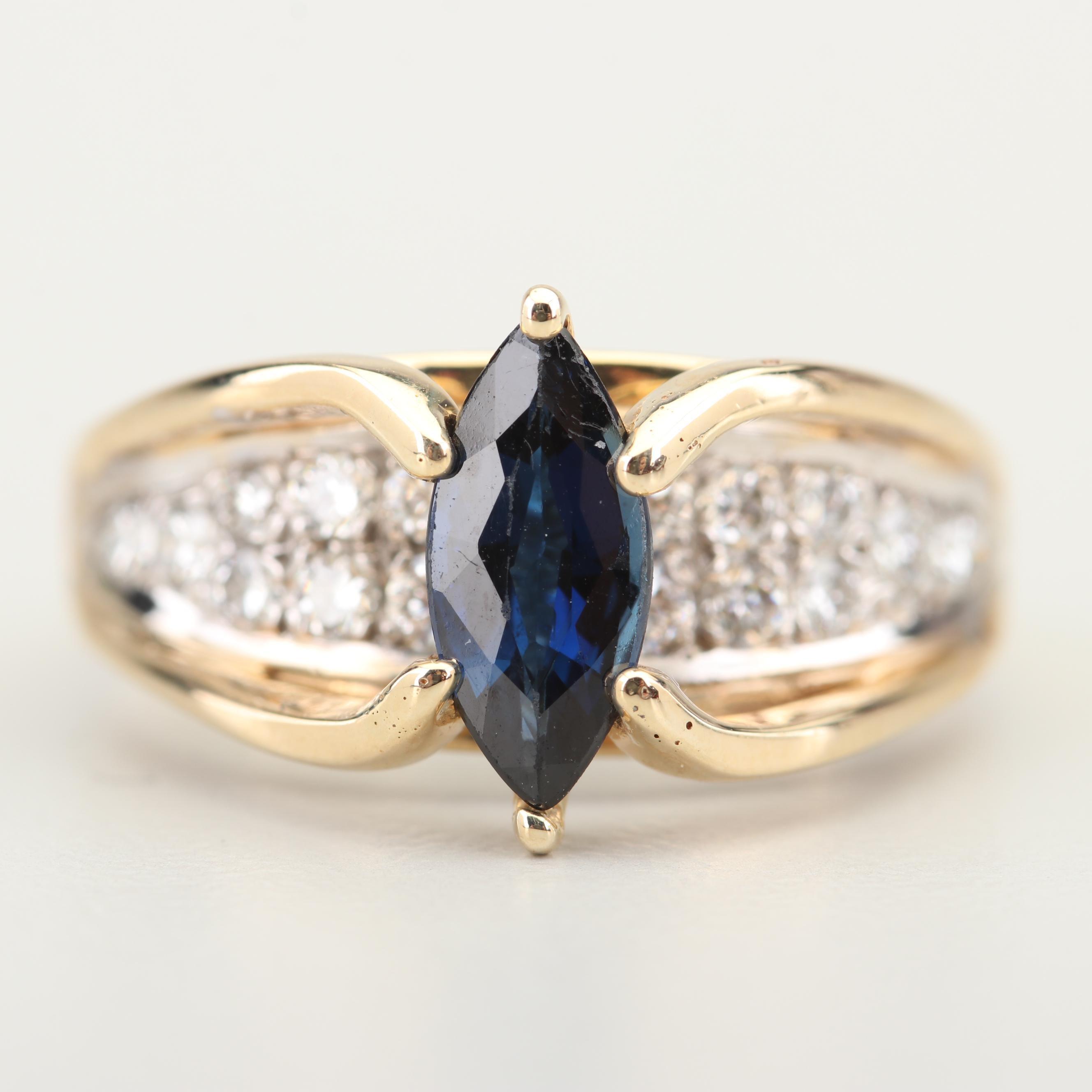 14K Yellow Gold 1.15 CT Sapphire and Diamond Ring