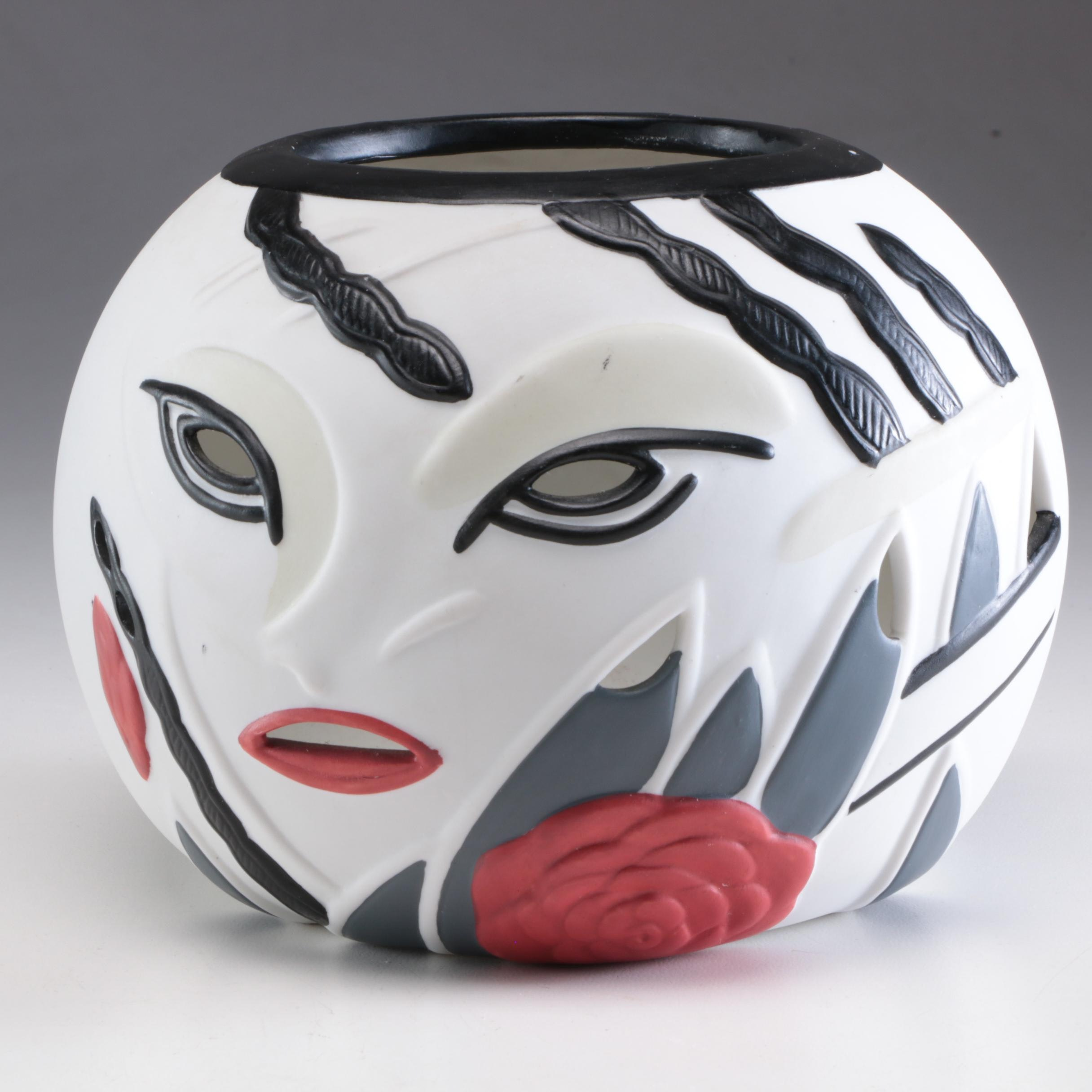 Porcelain Rose Bowl Depicting Abstract Painted Female Face with Rose