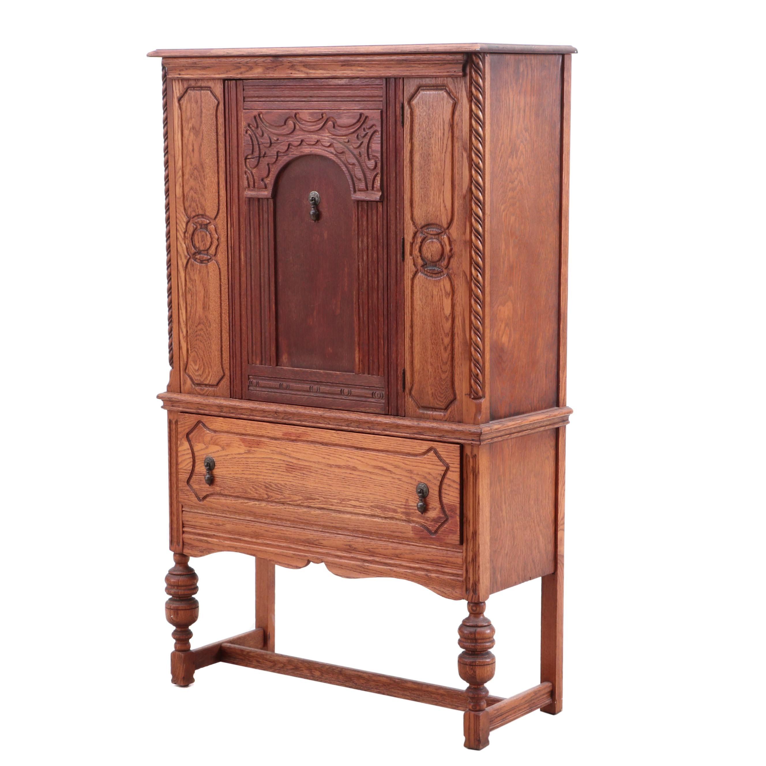 Tudor Style Oak China Cabinet, Circa 1920s