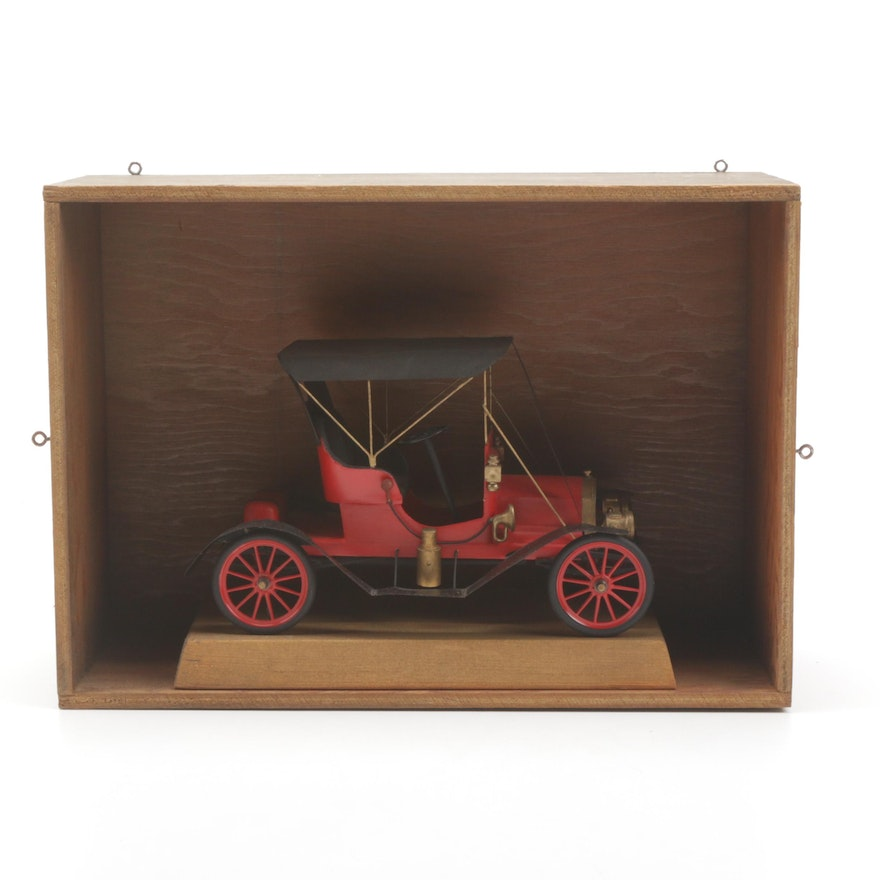 1910 Maxwell Coupe Model Toy Hand Built Automobile in Display Case