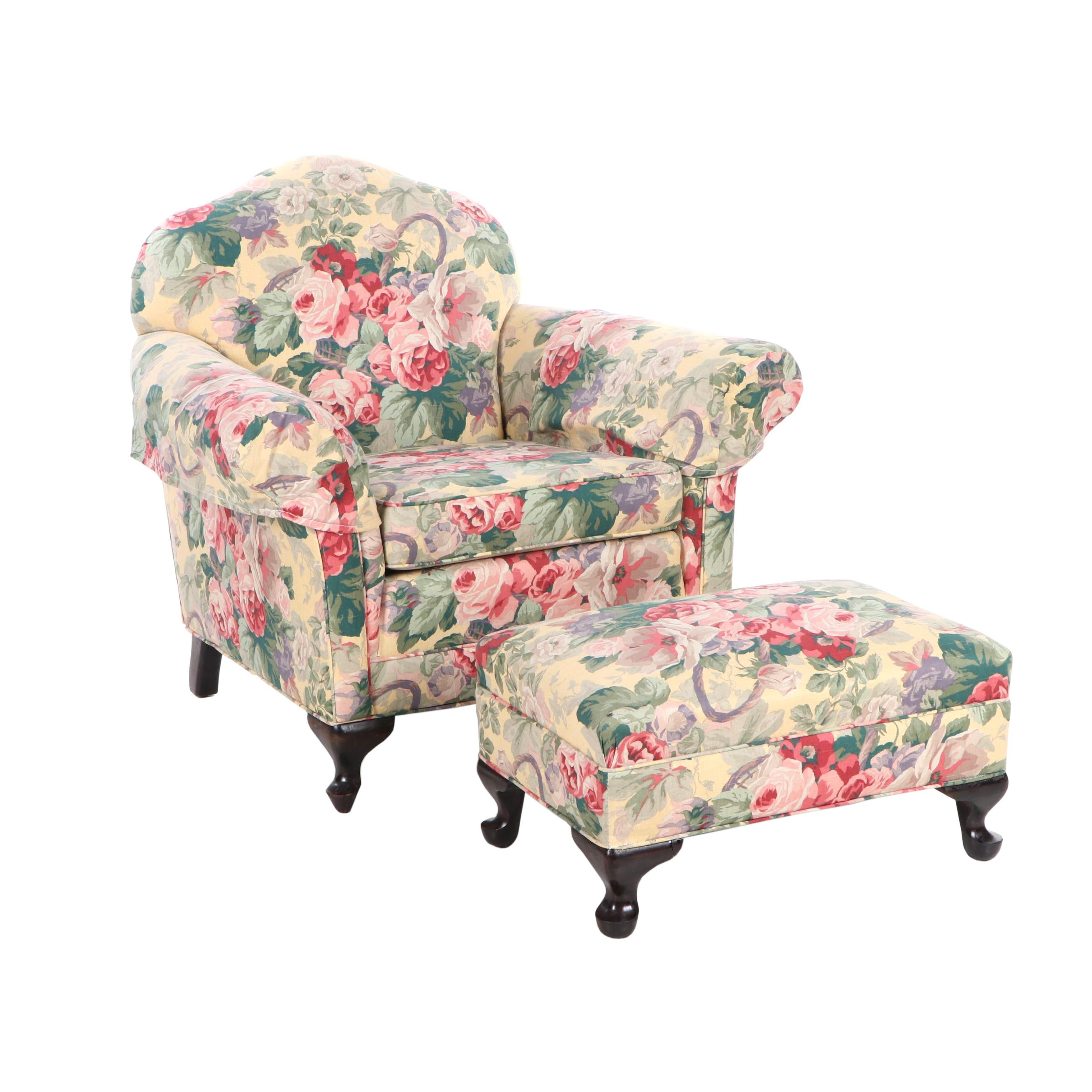 Upholstered Armchair and Ottoman with Floral Pattern, Mid-Century