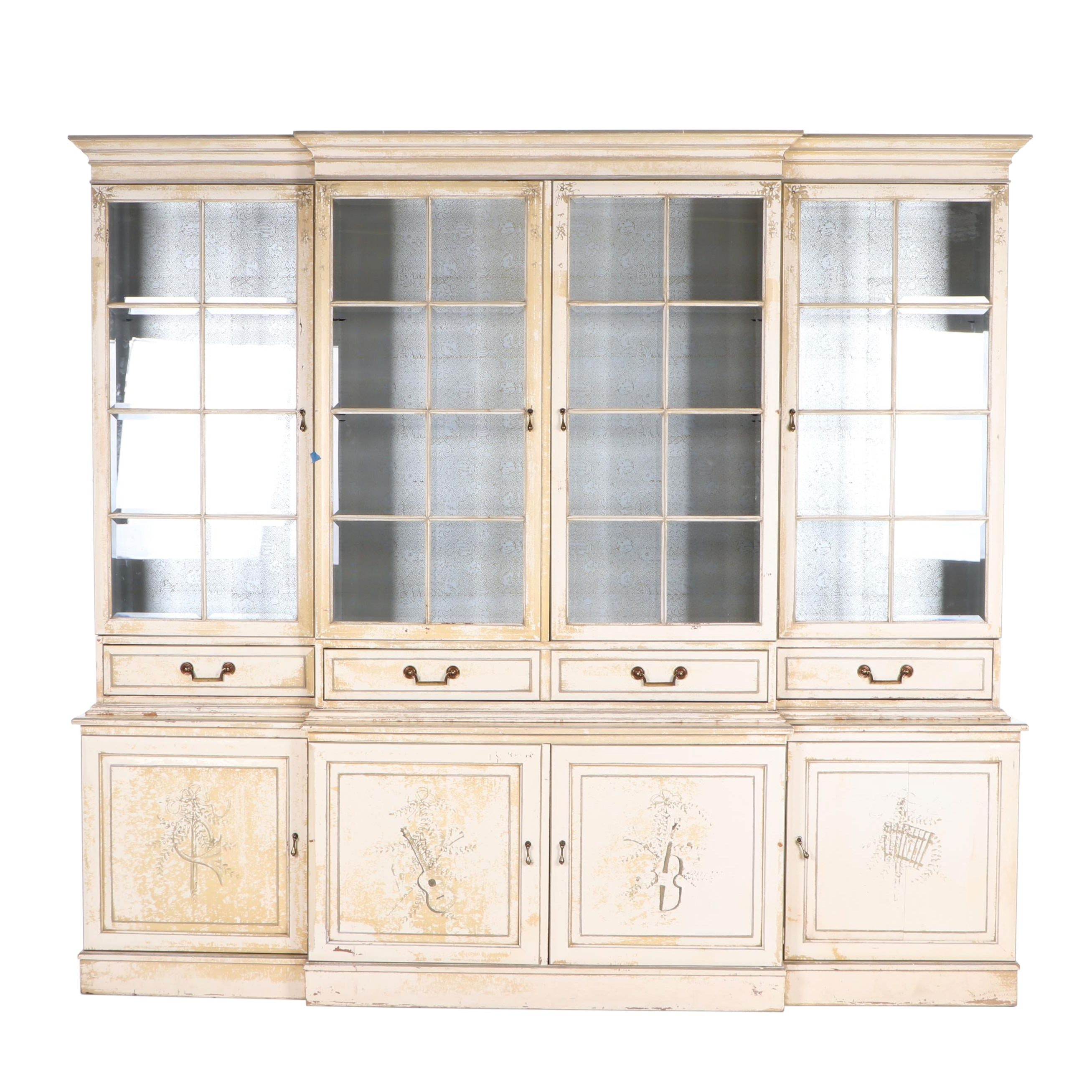 Paint-Decorated Wooden Breakfront China Cabinet, Mid to Late 20th Century