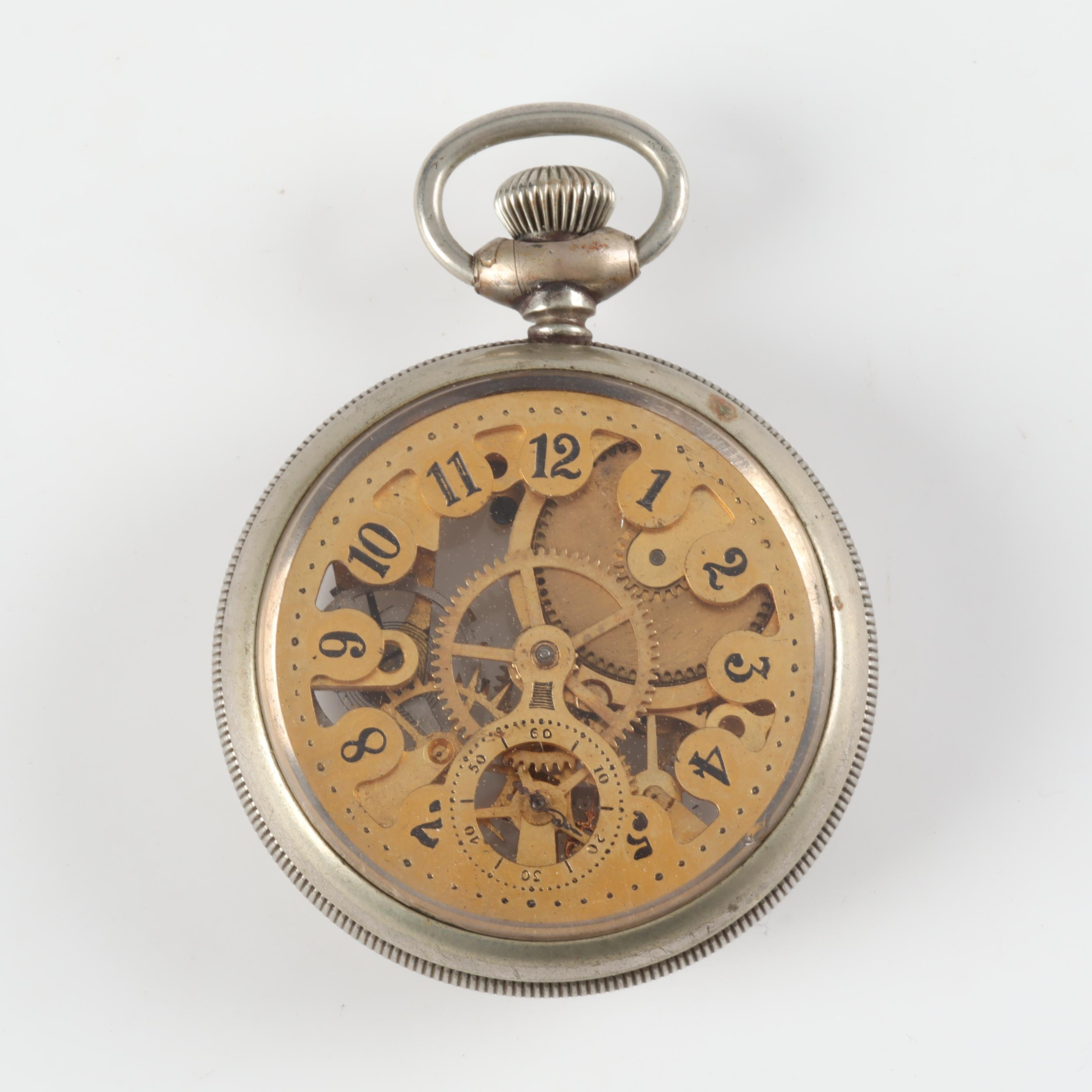 Vintage N.E.W. Co Nickel Chrome Skeleton Pocket Watch