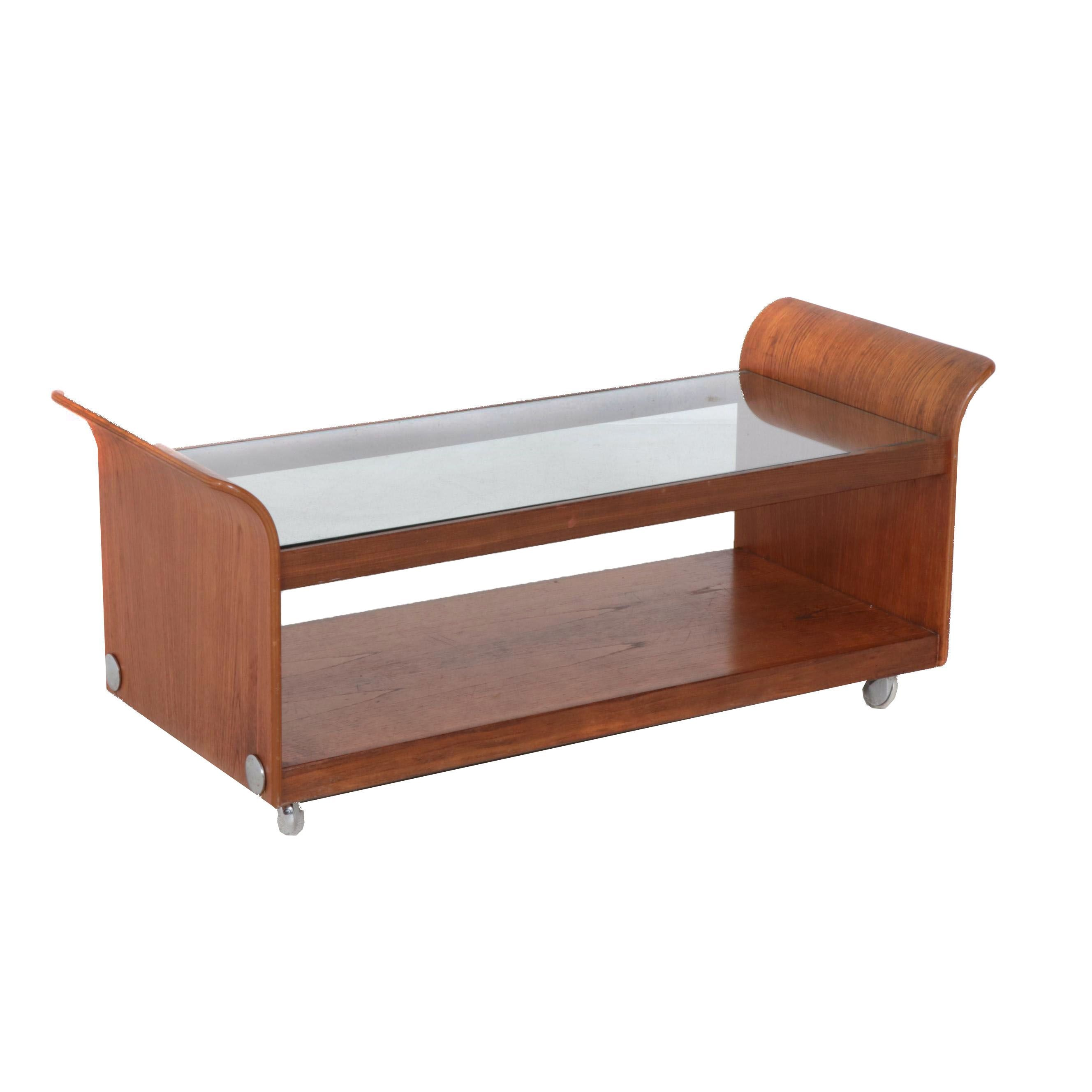 Teak Glass Top Formed Wood Glass Top Coffee Table, Mid Century