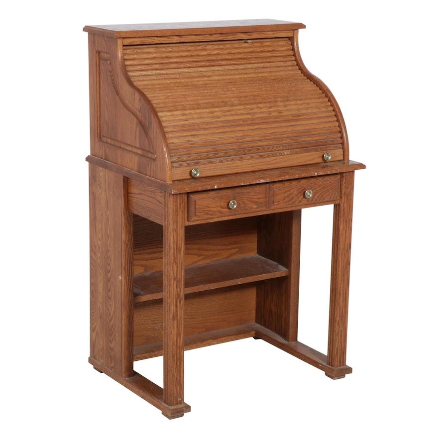 Oak Roll-Top Secretary Desk, Late 20th Century