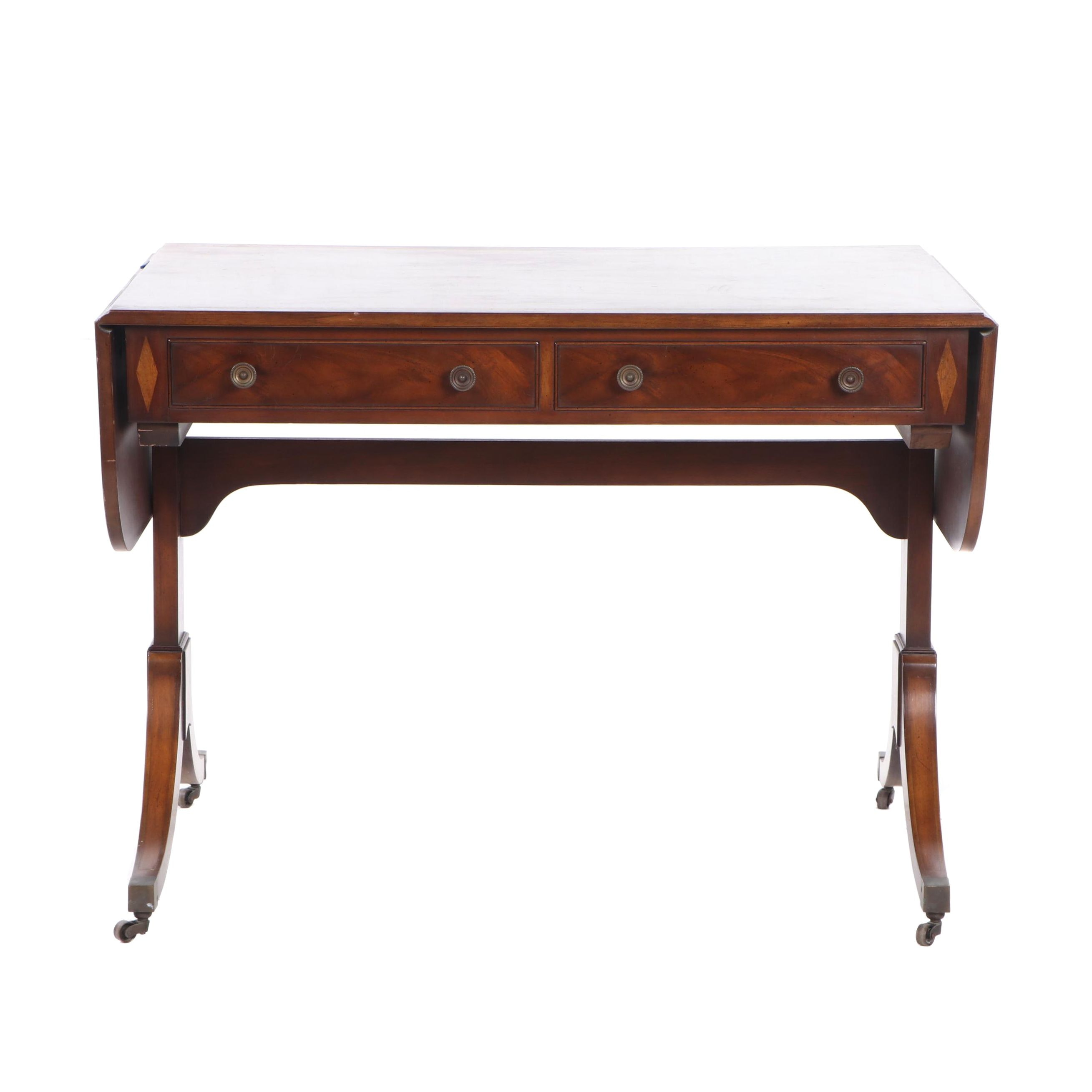 "Kaplan Furniture ""Beacon Hill Collection"" Walnut Drop Leaf Writing Table"