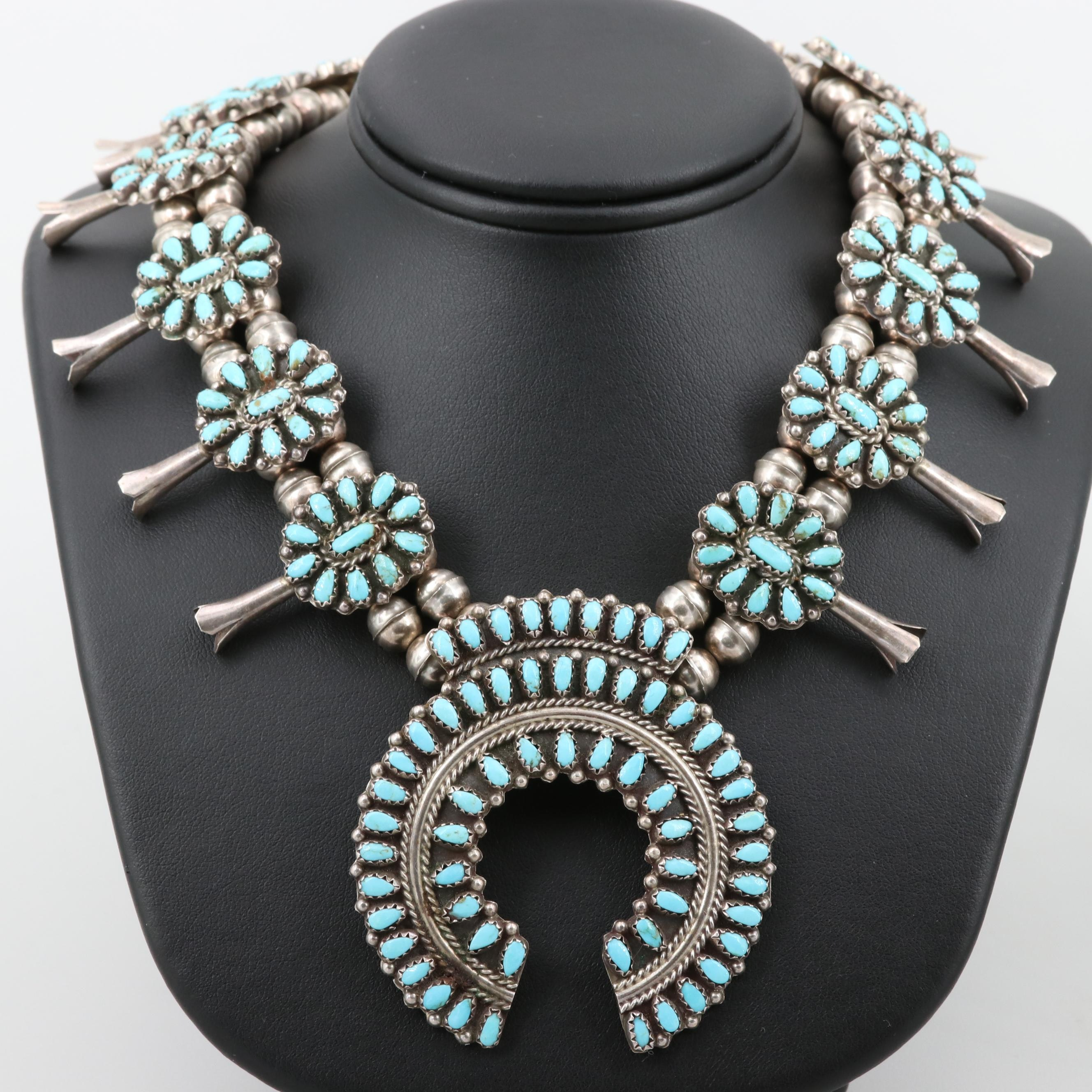 Benjamin James Navajo Diné Sterling Turquoise Squash Blossom Necklace