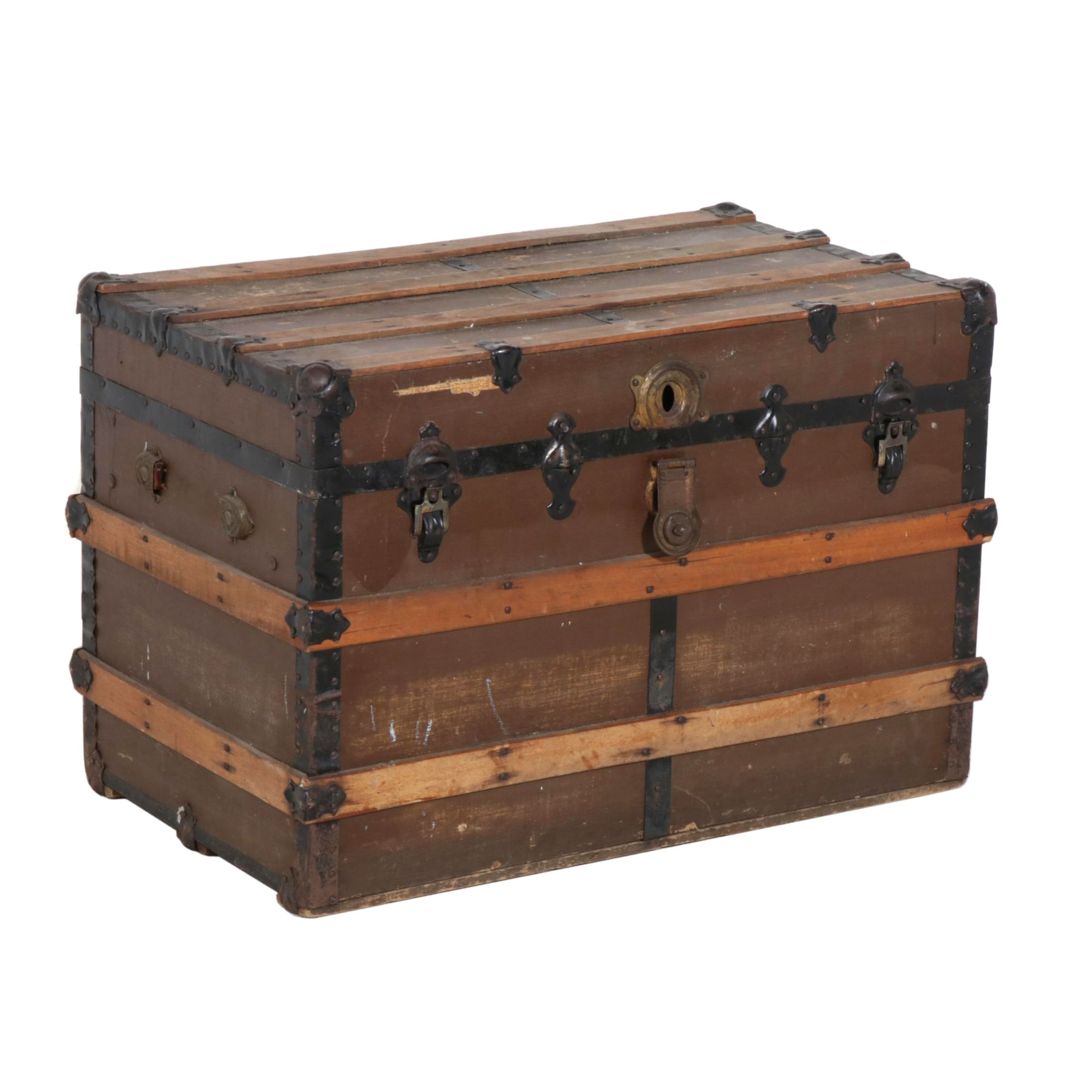 Wood Steamer Trunk, Early 20th Century