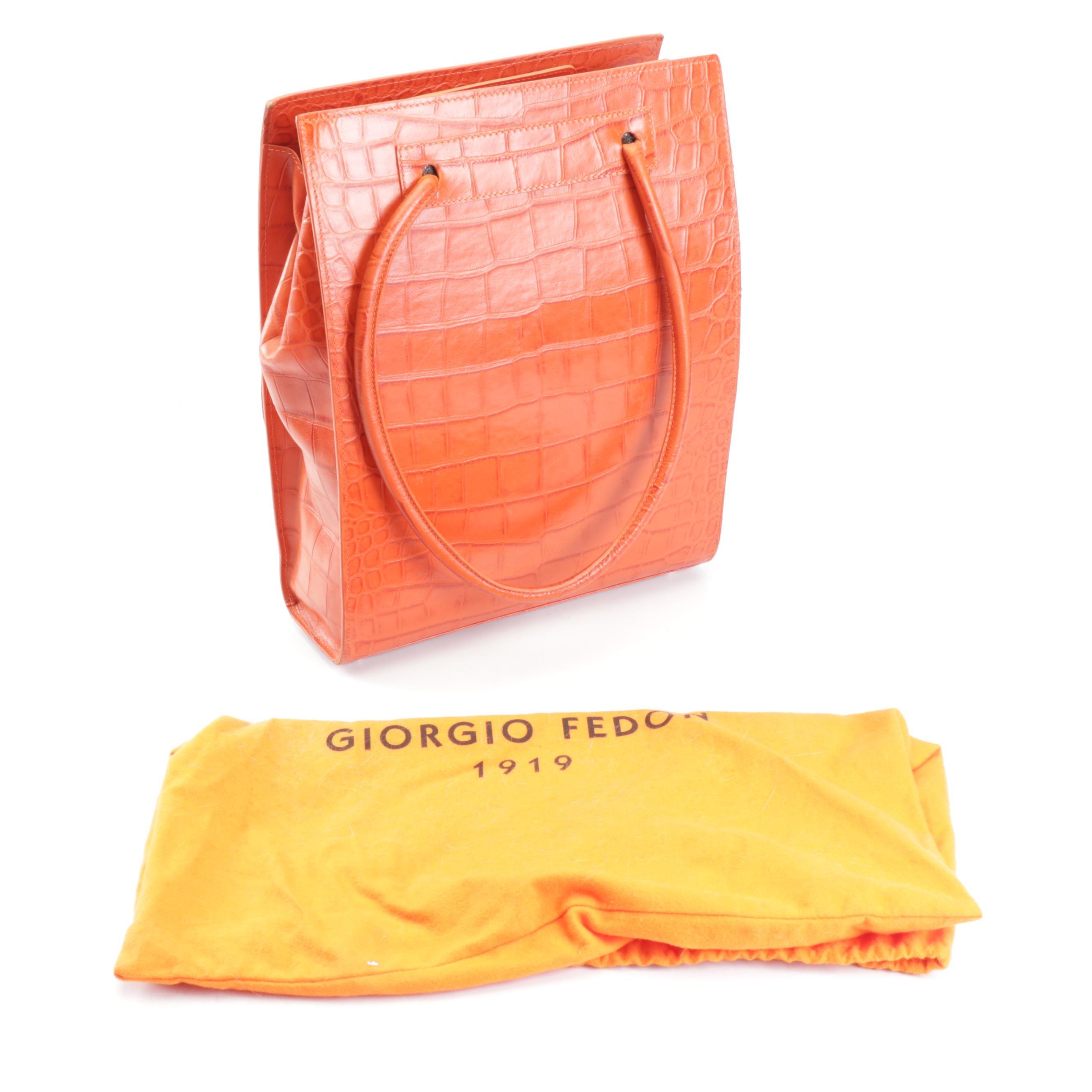Giorgio Fedon 1919 Croc Embossed Orange Leather Shoulder Bag