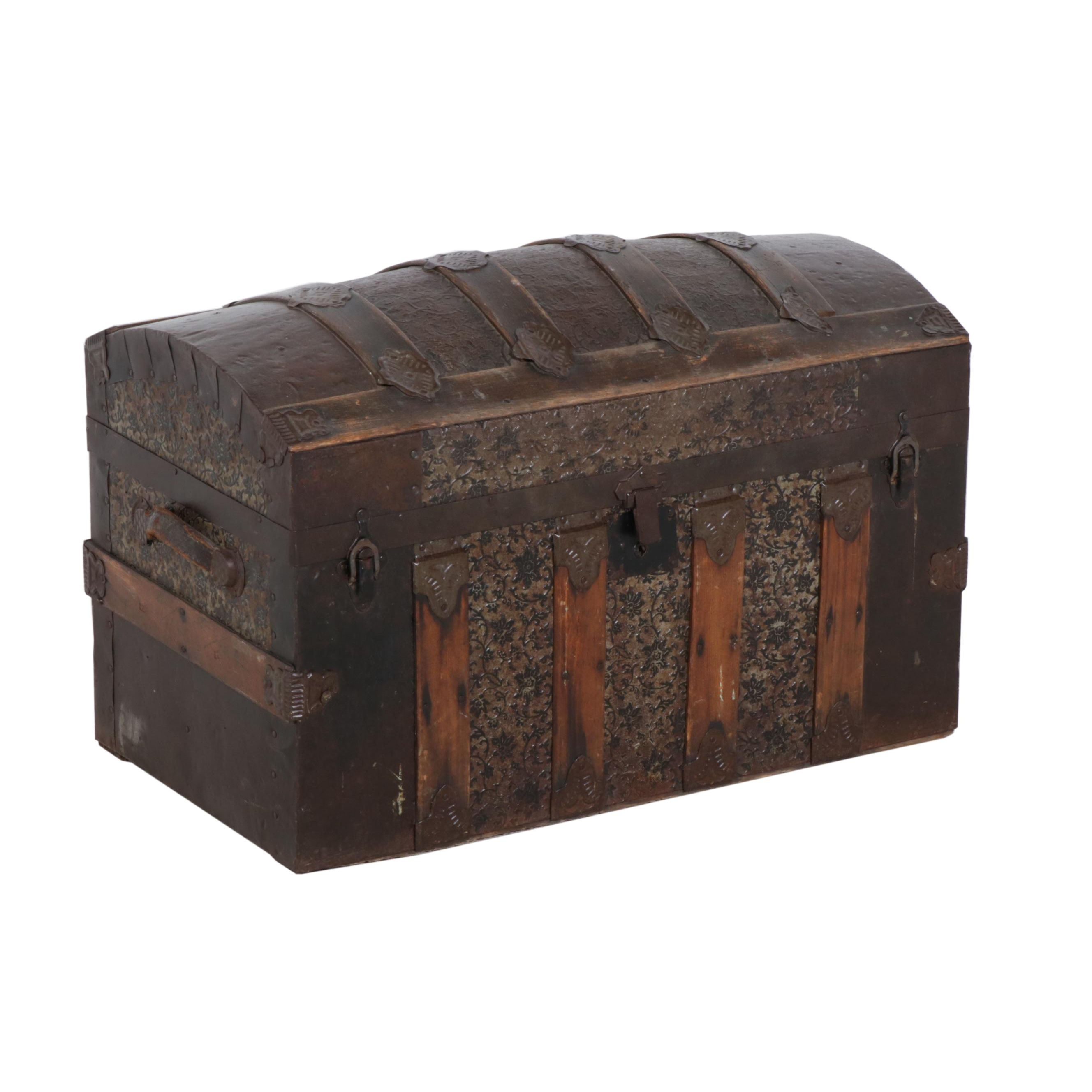 Wooden Trunk with Embossed Sheet Metal, 1910s