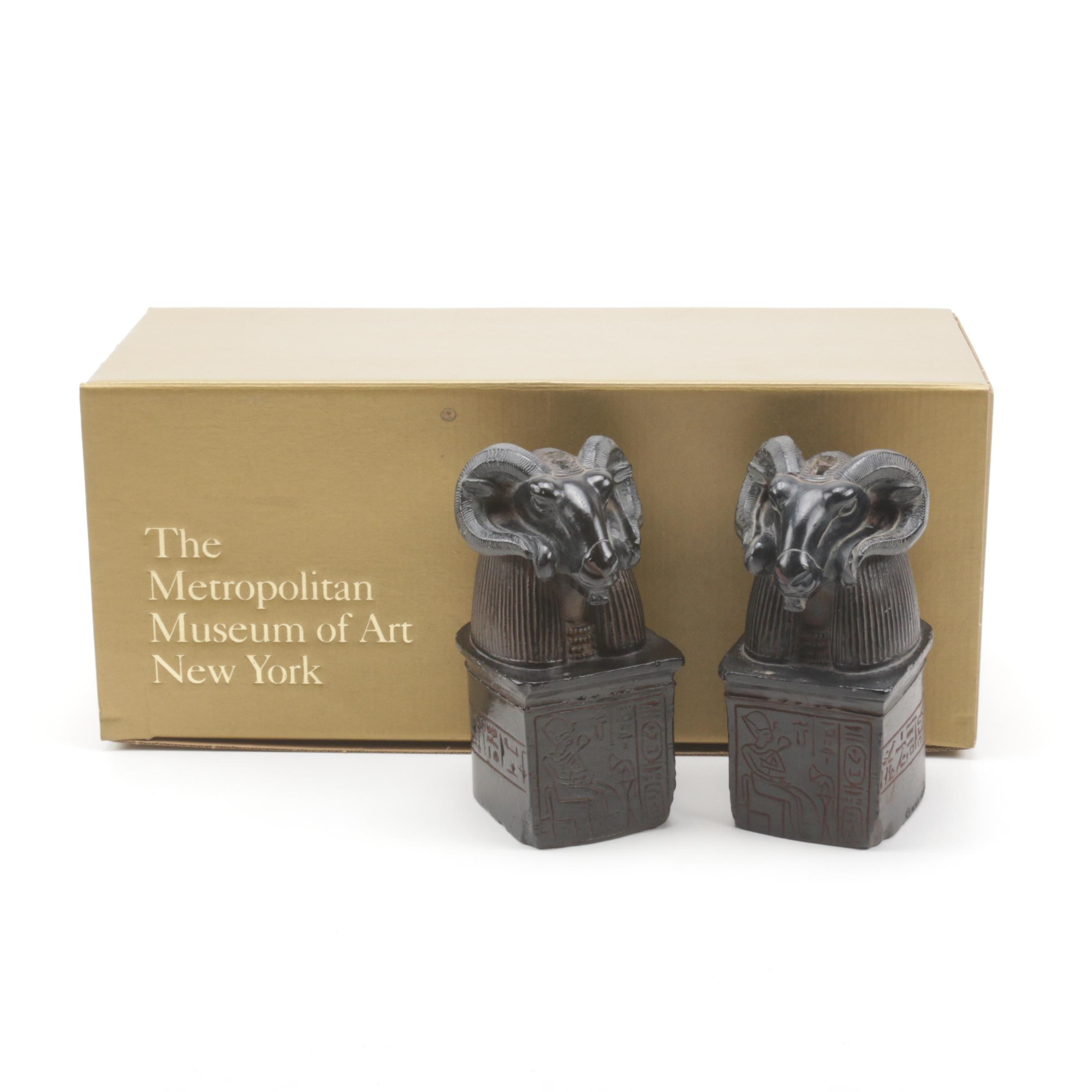 Met Museum of Art Egyptian Revival Rams Head Bookends