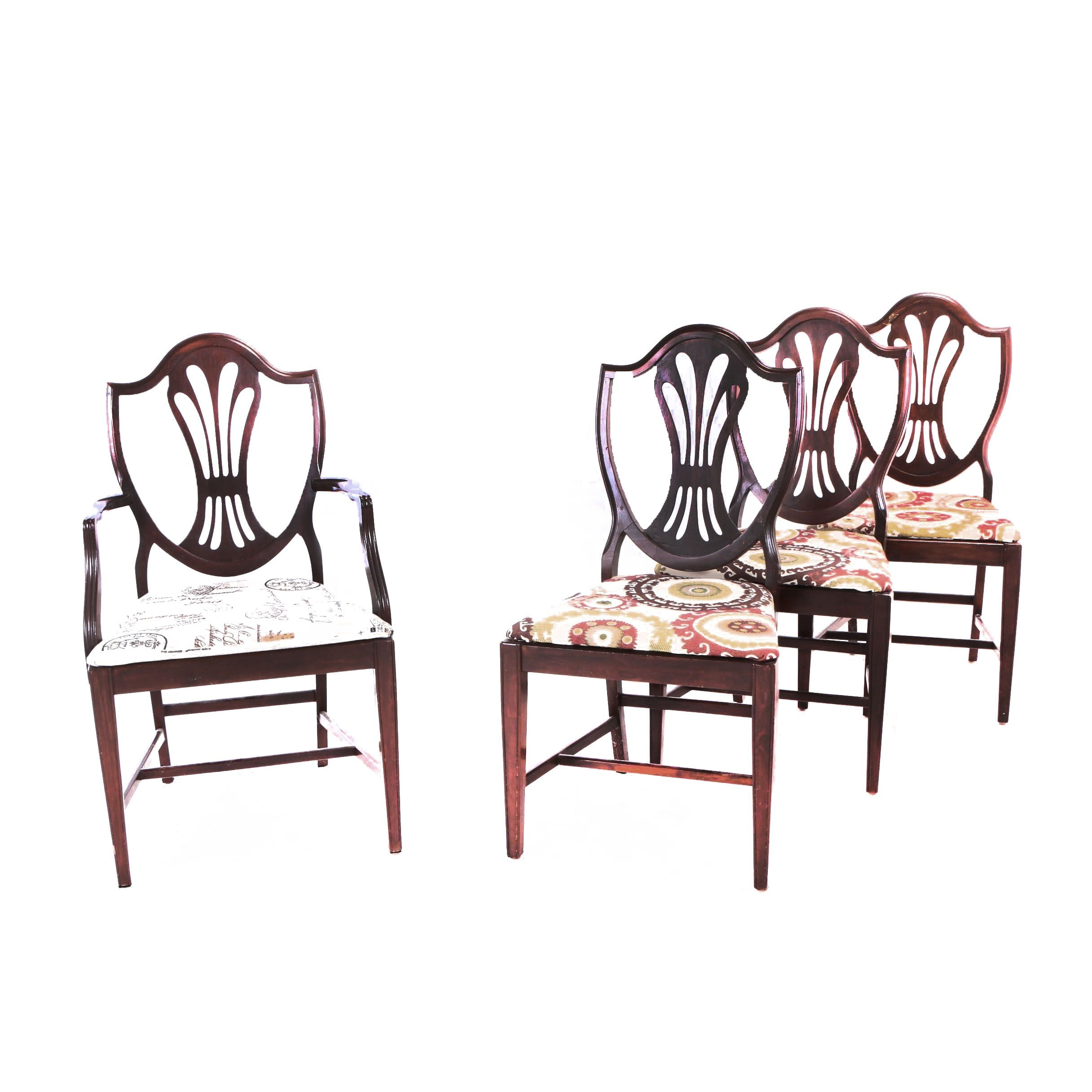 Four Federal Style Mahogany and Mahogany-Stained Dining Chairs, 20th Century