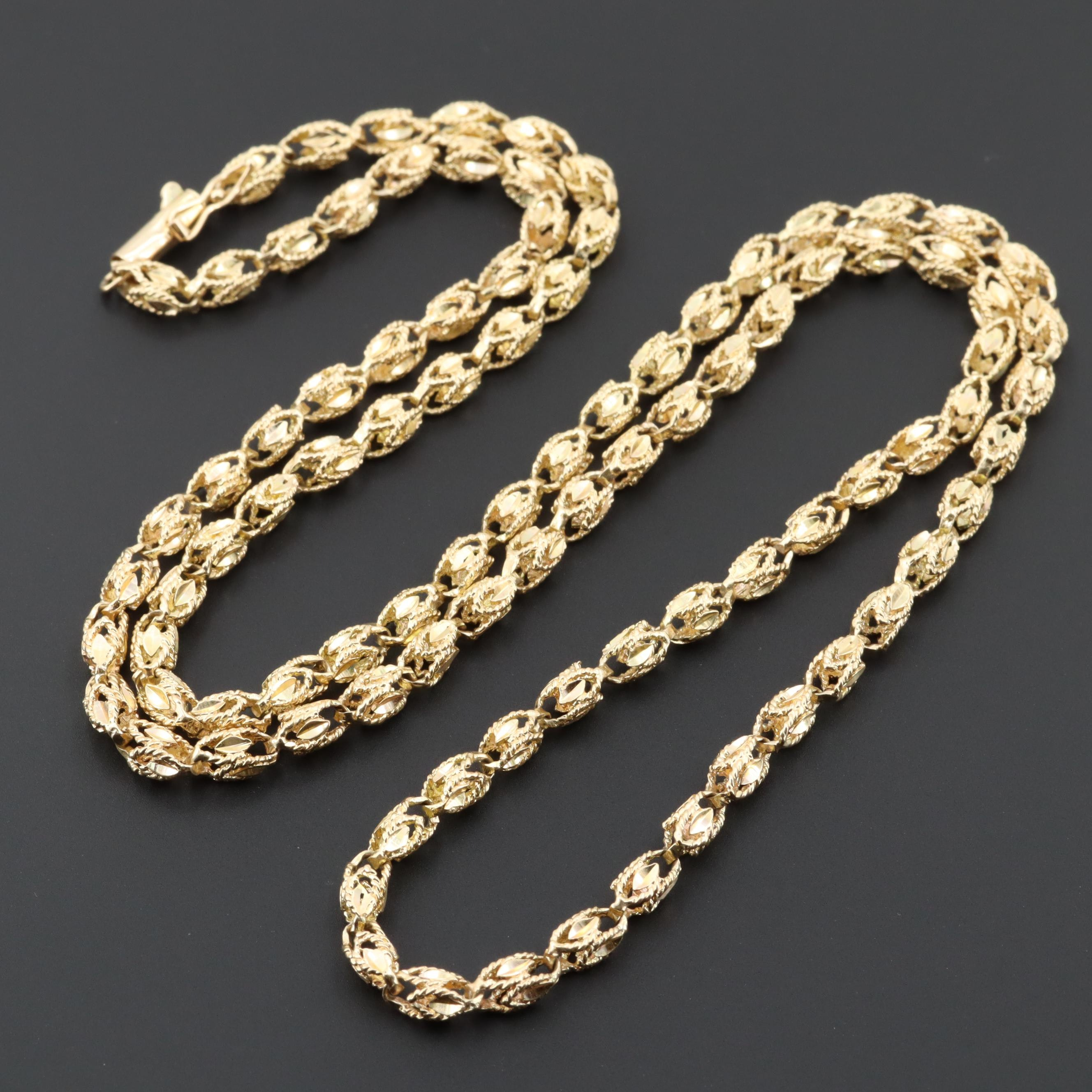 14K Yellow Gold Diamond Cut Fancy Chain Link Necklace