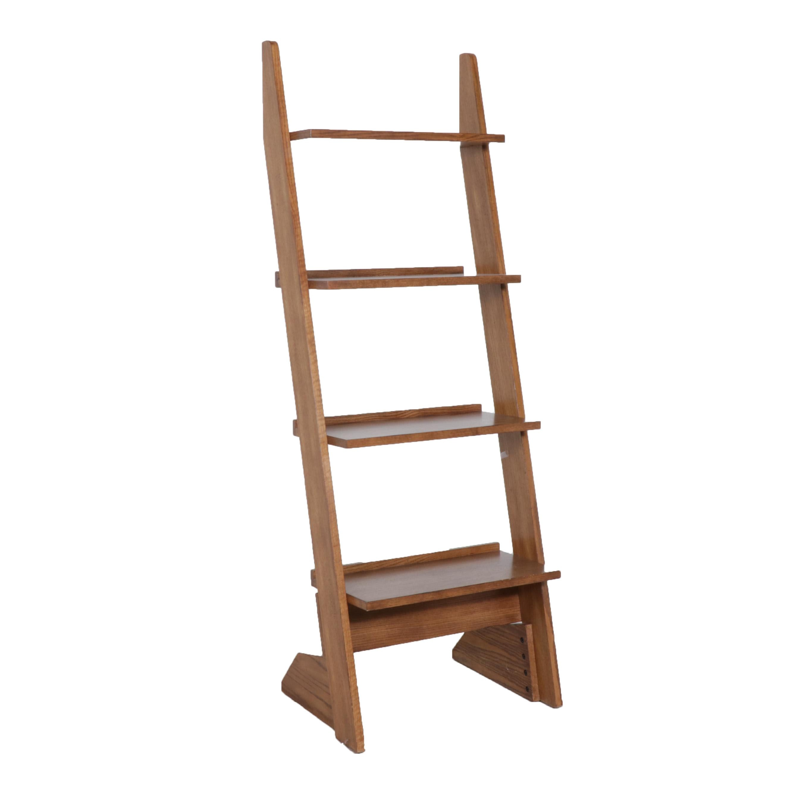 Contemporary Oak Ladder Style Bookcase