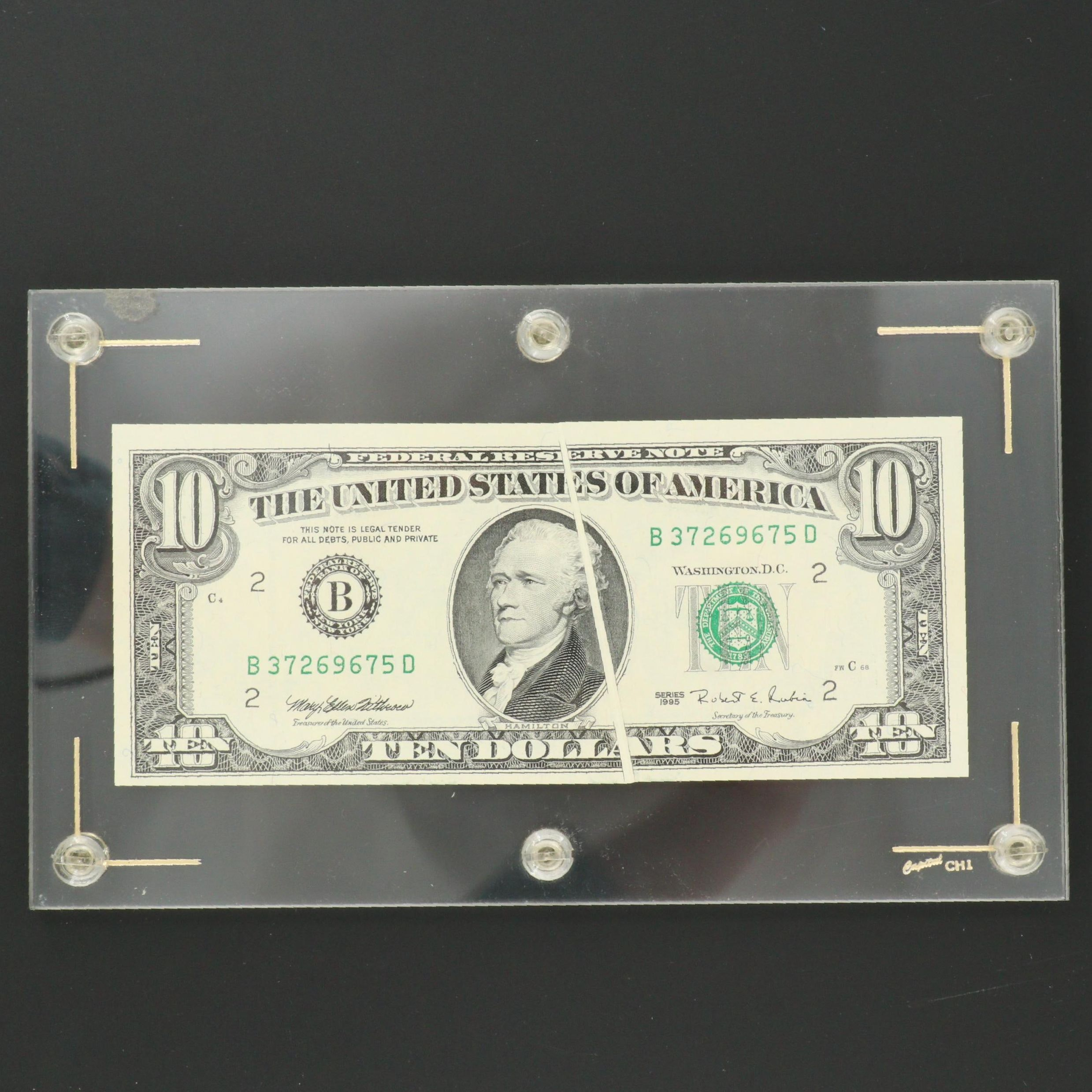1995 U.S. $10 Federal Reserve Note with Blank Crease Error