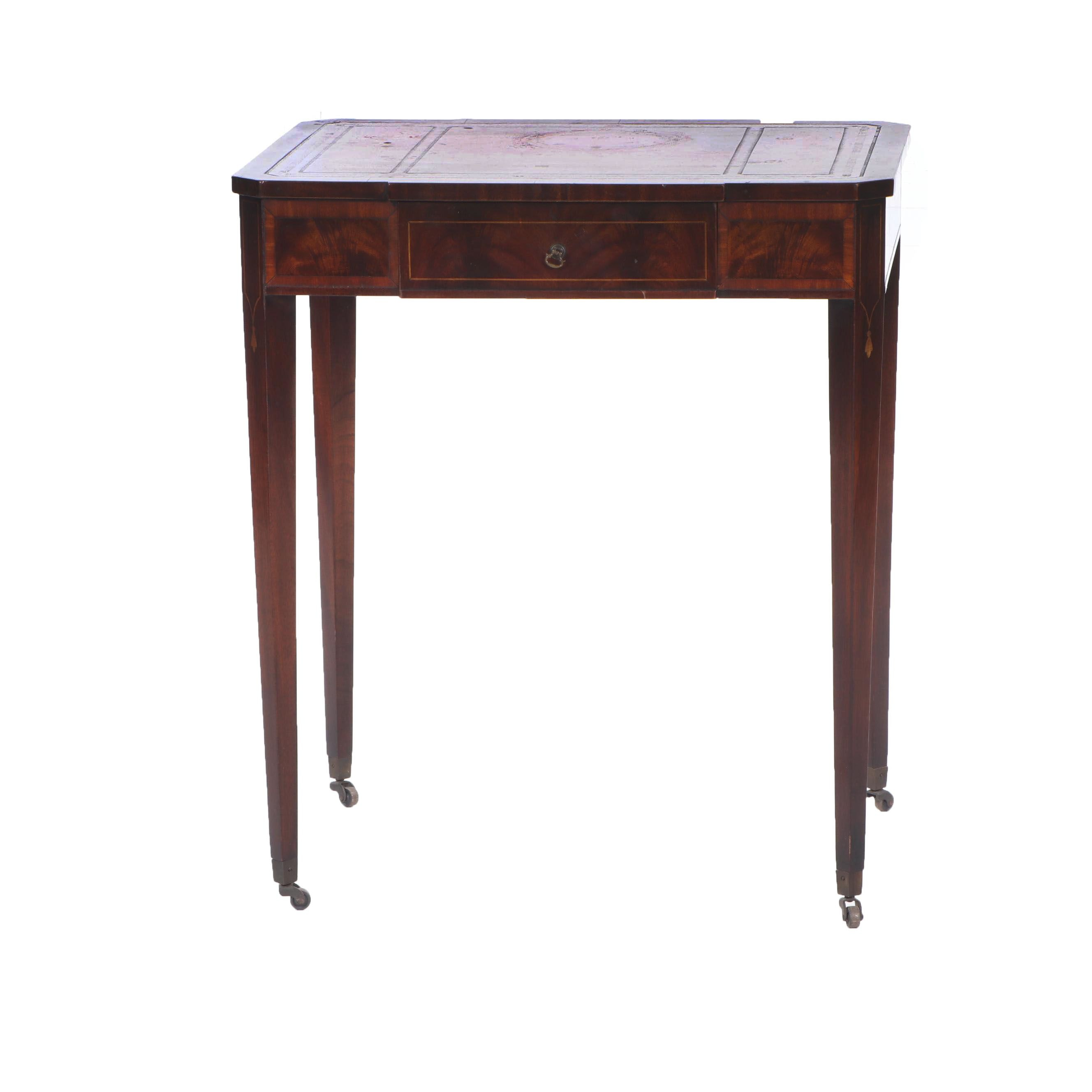 G. Fox & Co. Federal Style Mahogany and Leather Inset Writing Table