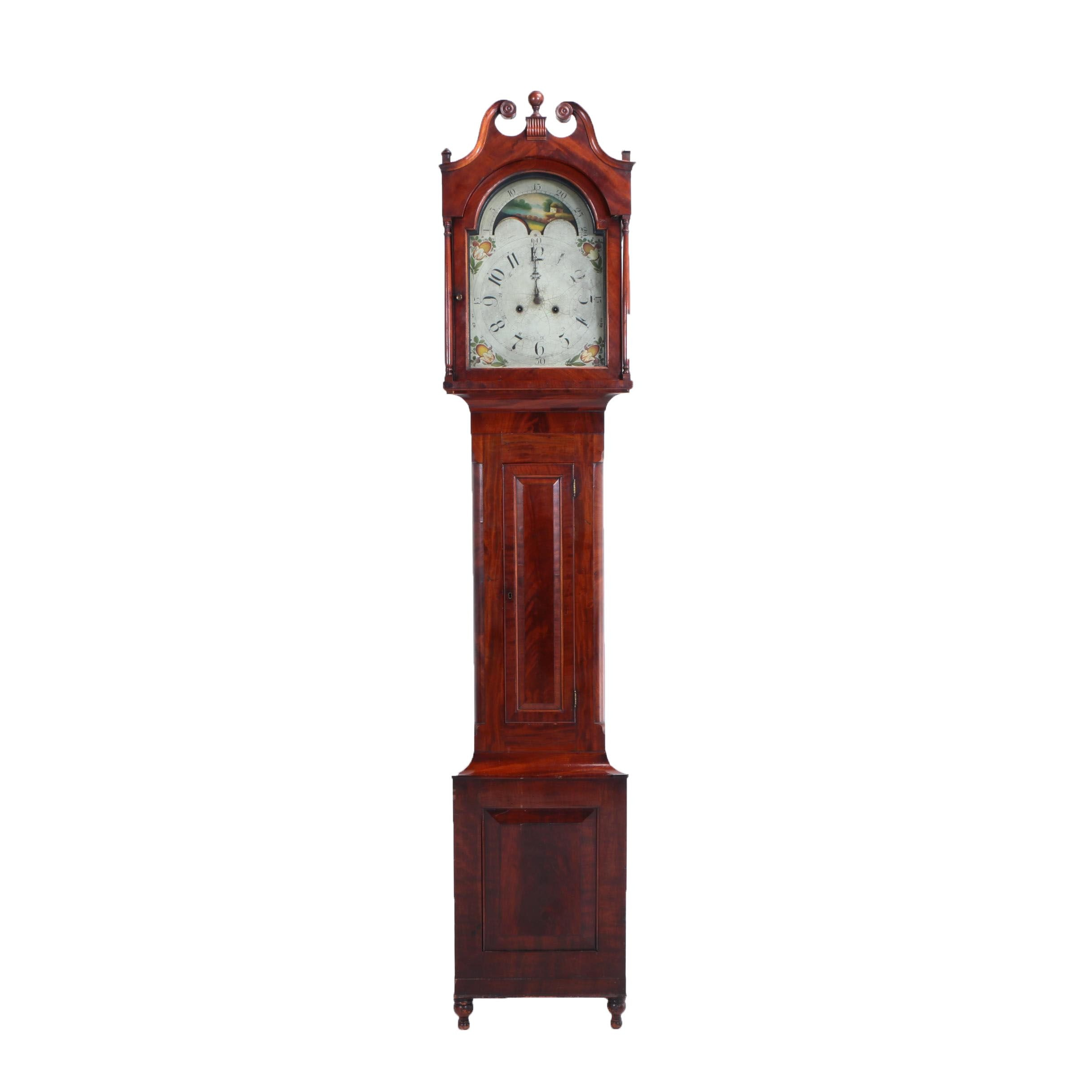 Federal Mahogany and Cherrywood Tall Case Clock, Early 19th Century