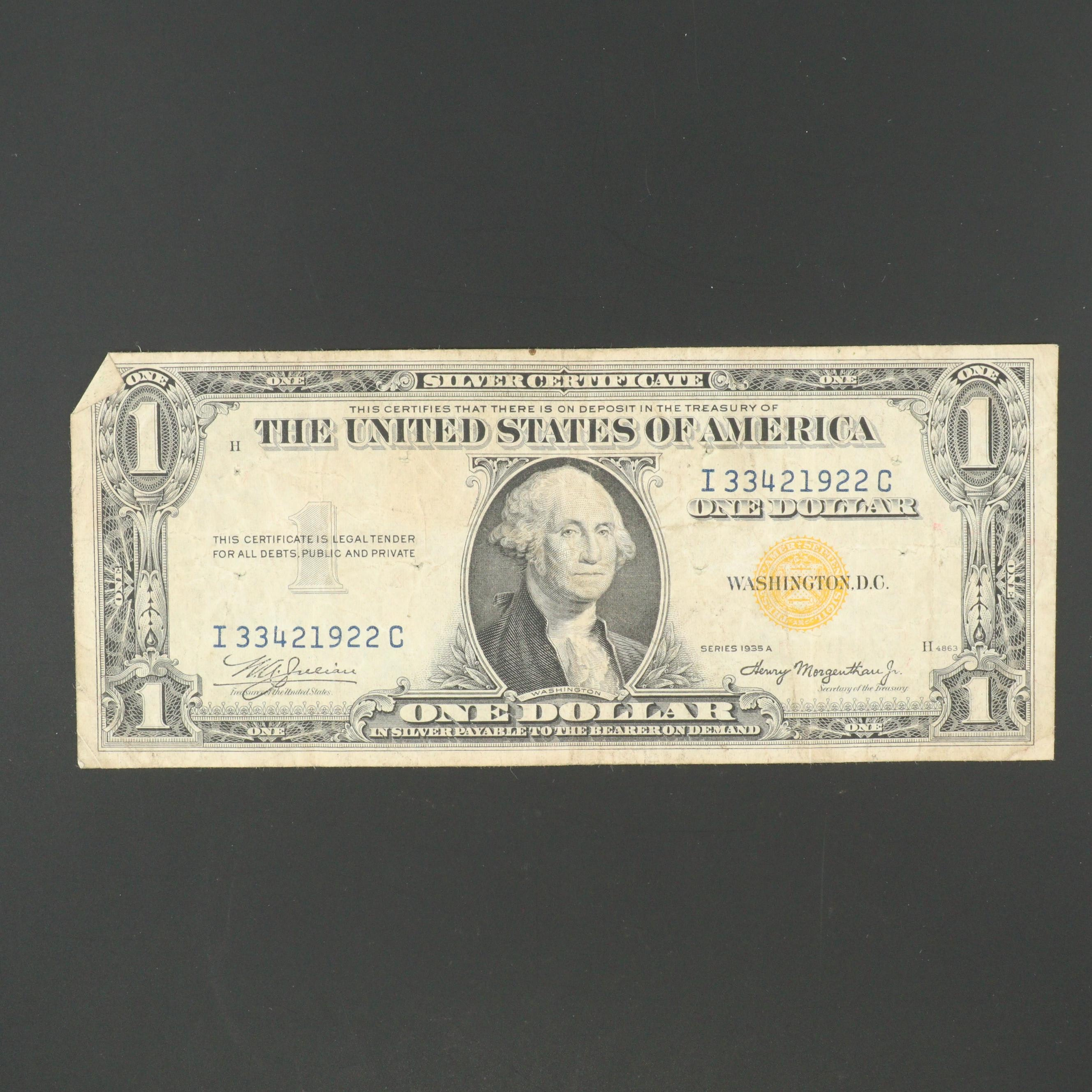 1935-A U.S. $1 Silver Certificate with Yellow Seal