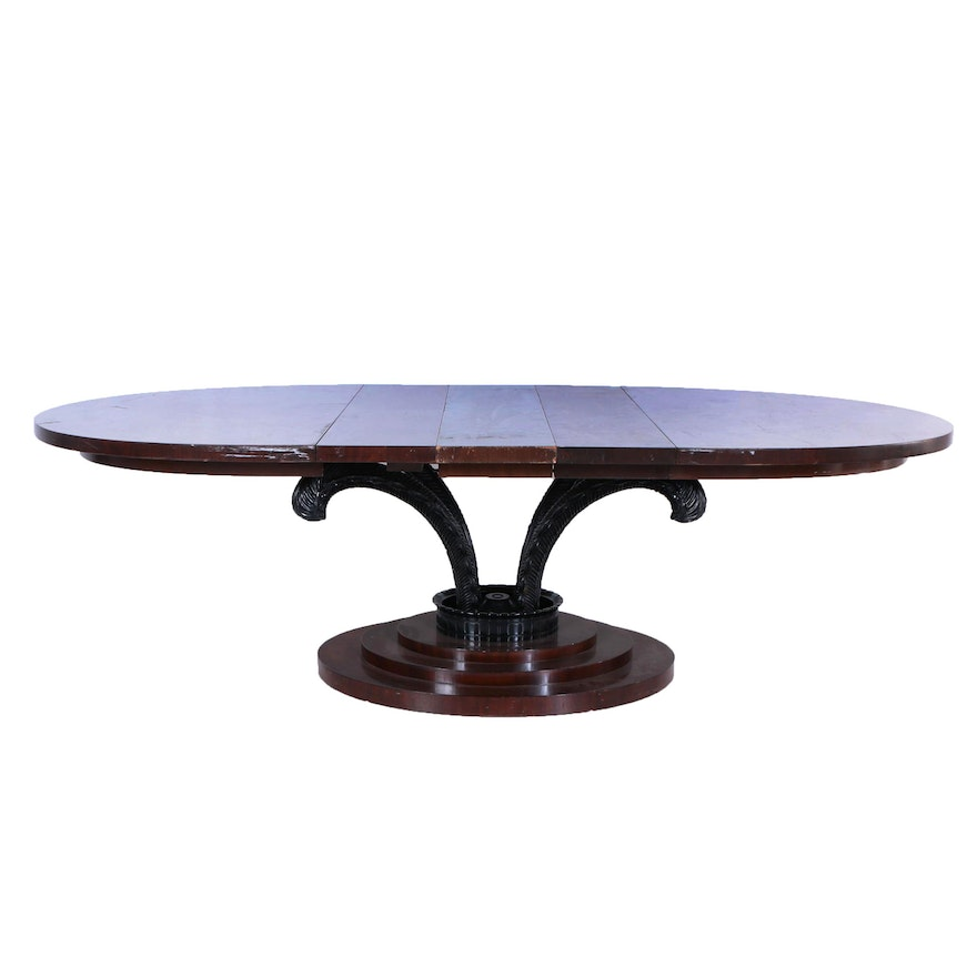 Mahogany and Parcel-Ebonized Plume-Carved Extending Dining Table, 20th Century