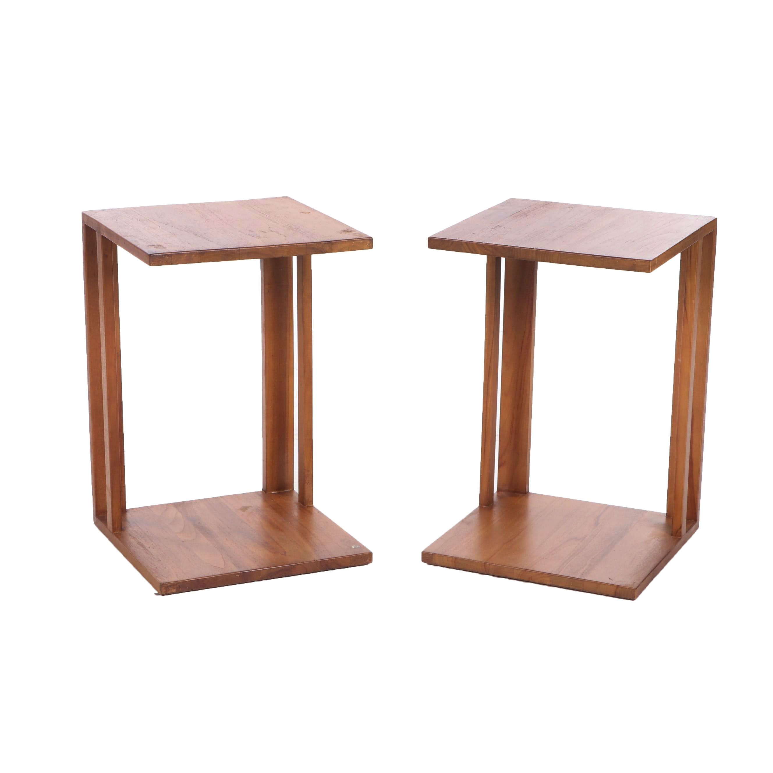 Mid Century Modern Teak Cantilever Side Tables