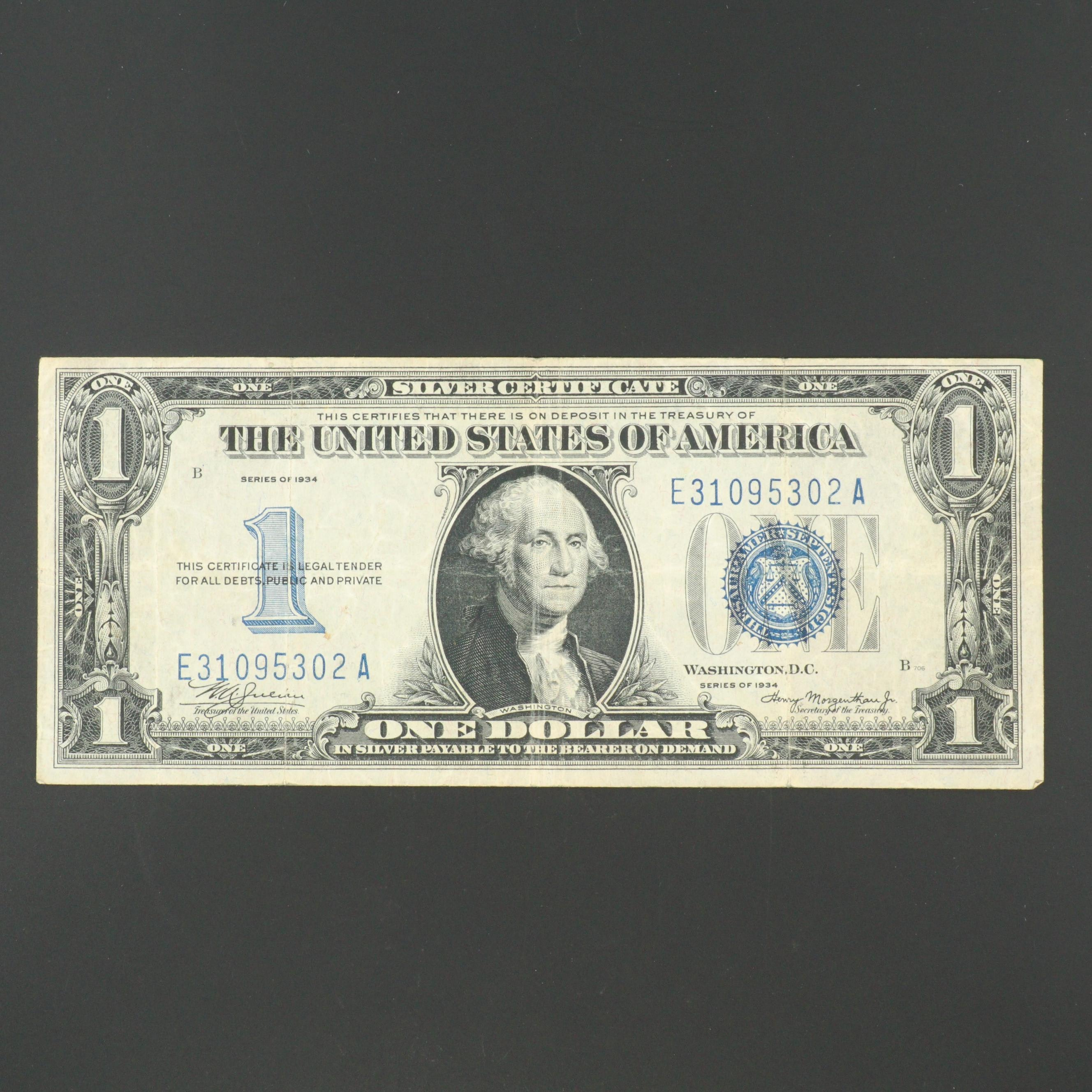 Series of 1934 U.S. $1 Silver Cerificate