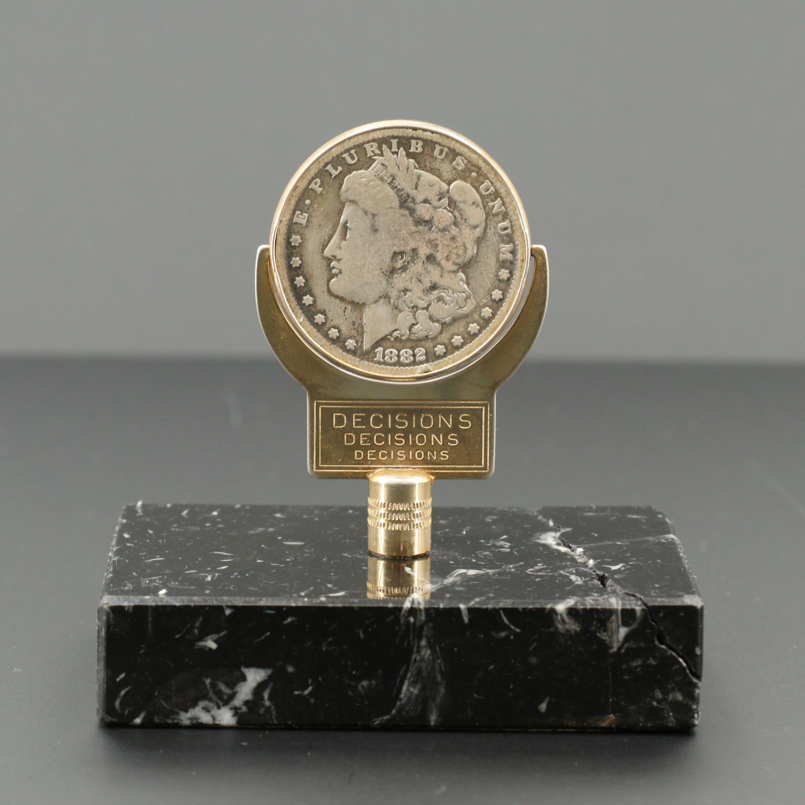 1882-O Morgan Silver Dollar Coin Flip Paperweight