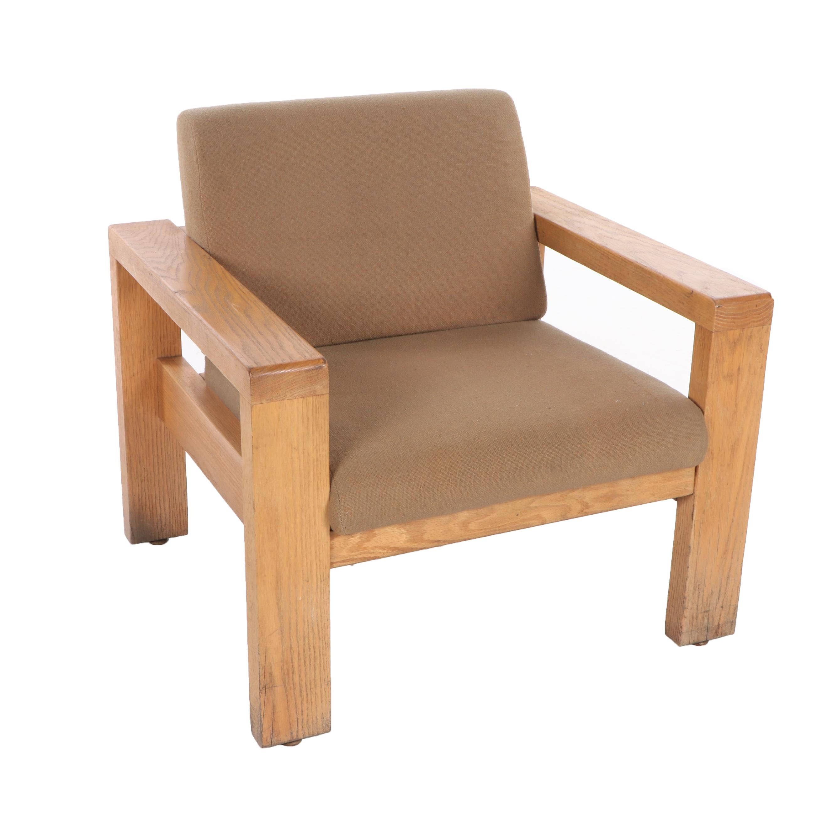 Modern Upholstered Oak Lounge Chair, Late 20th Century