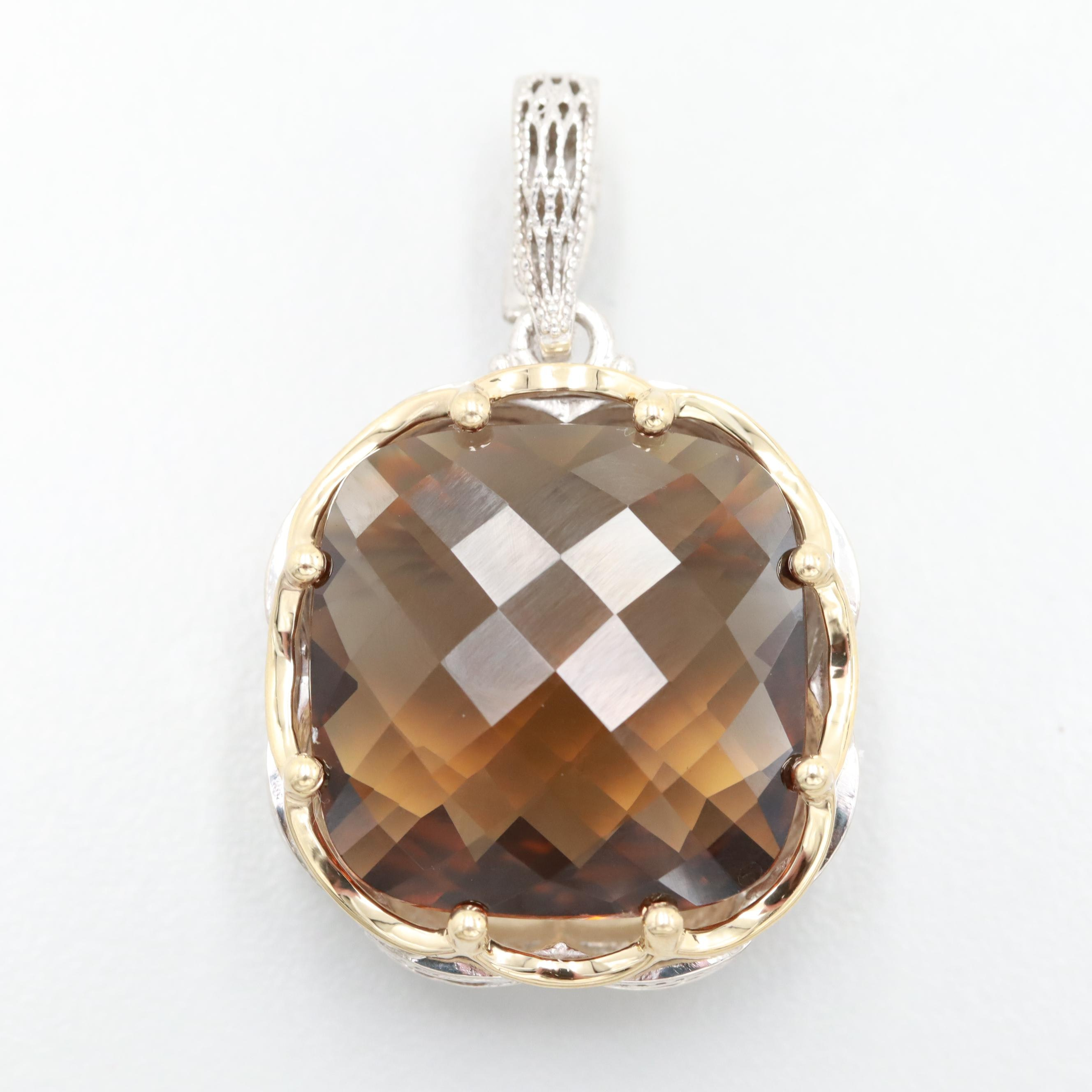 Tacori Sterling Smoky Quartz Enhancer Pendant with 18K Yellow Gold Accents