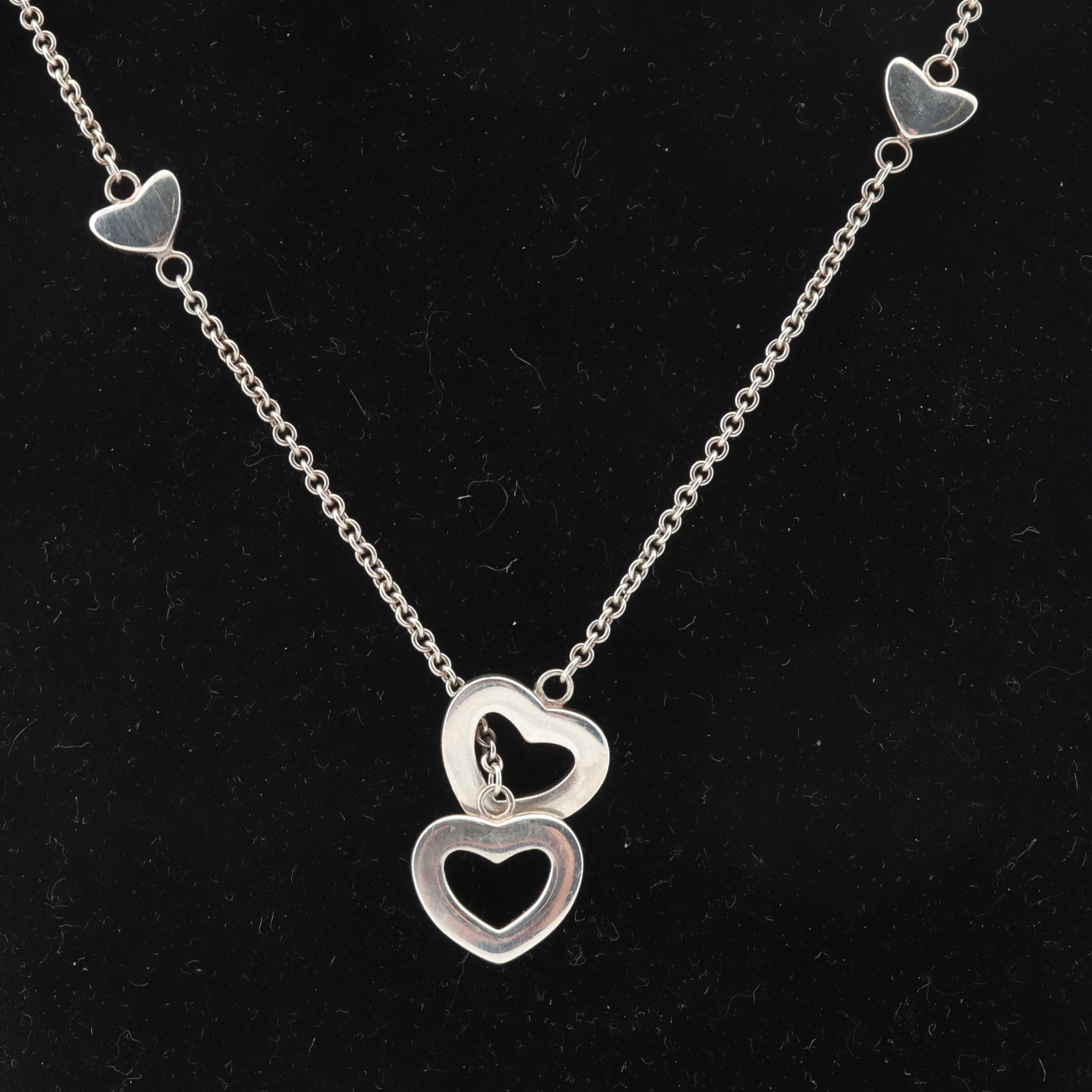 Tiffany & Co Sterling Silver Heart Lariat Necklace