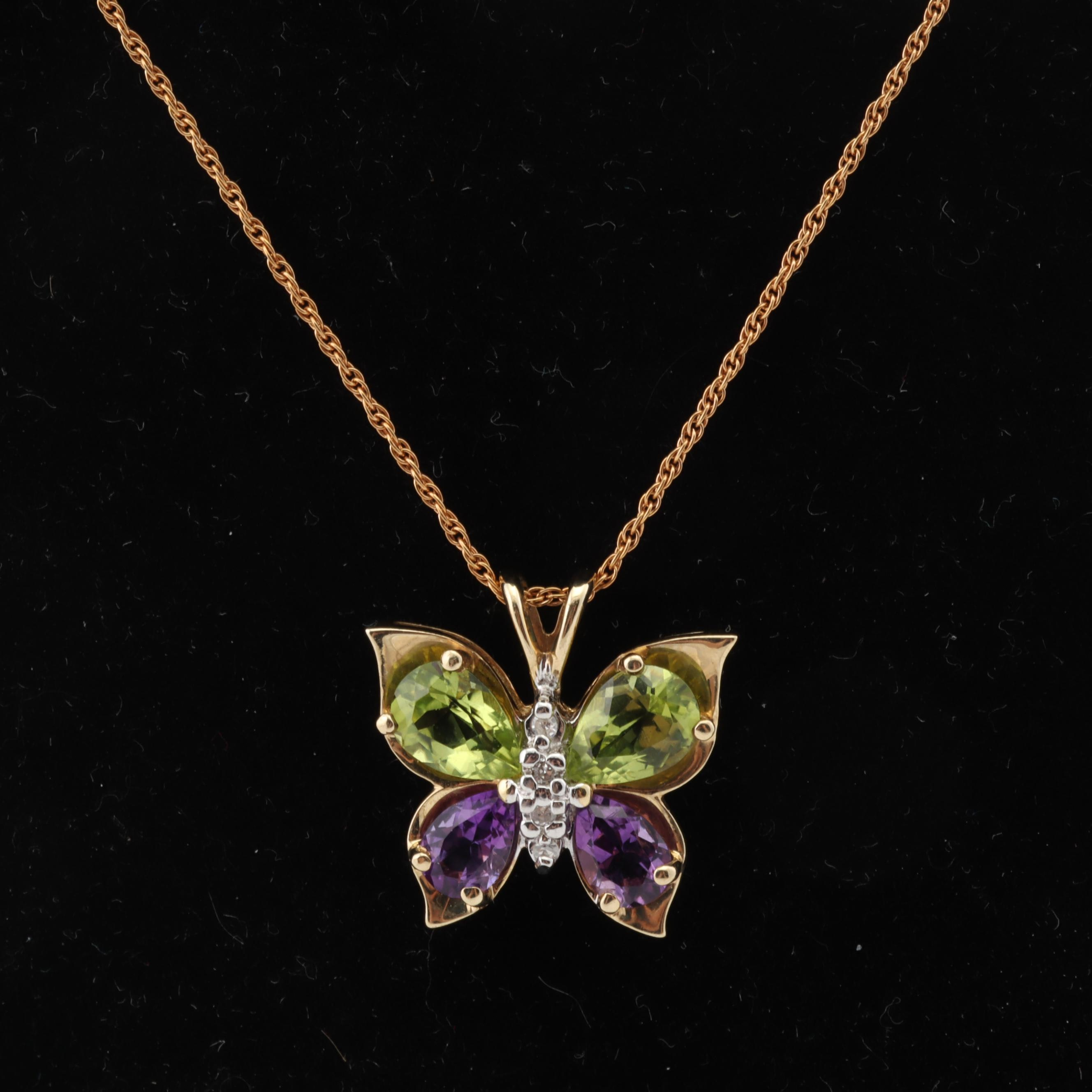 14K Yellow Gold Diamond, Amethyst and Peridot Butterfly Necklace